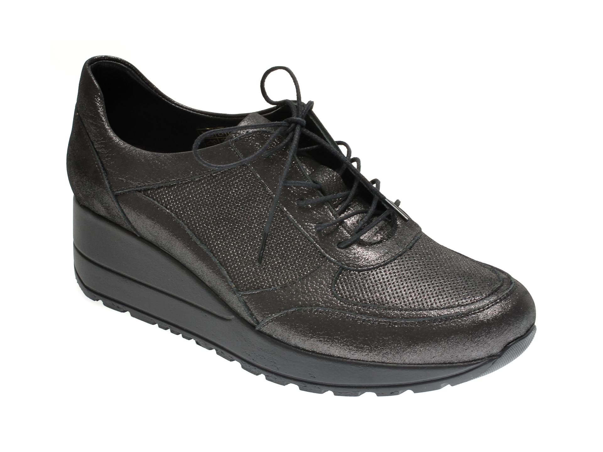 Pantofi ILOZ gri, 6026, din piele naturala imagine