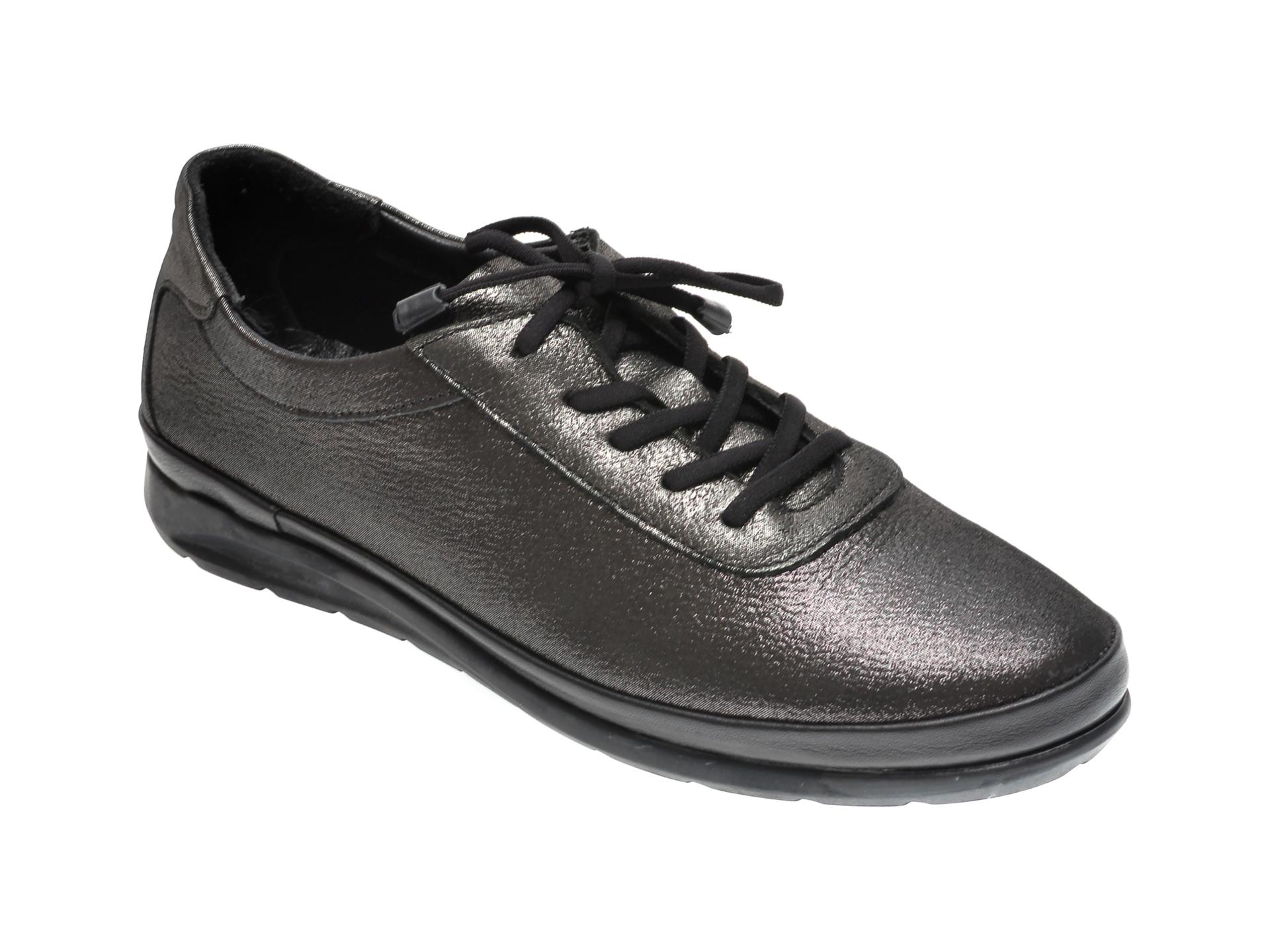 Pantofi ILOZ gri, 6354, din piele naturala imagine