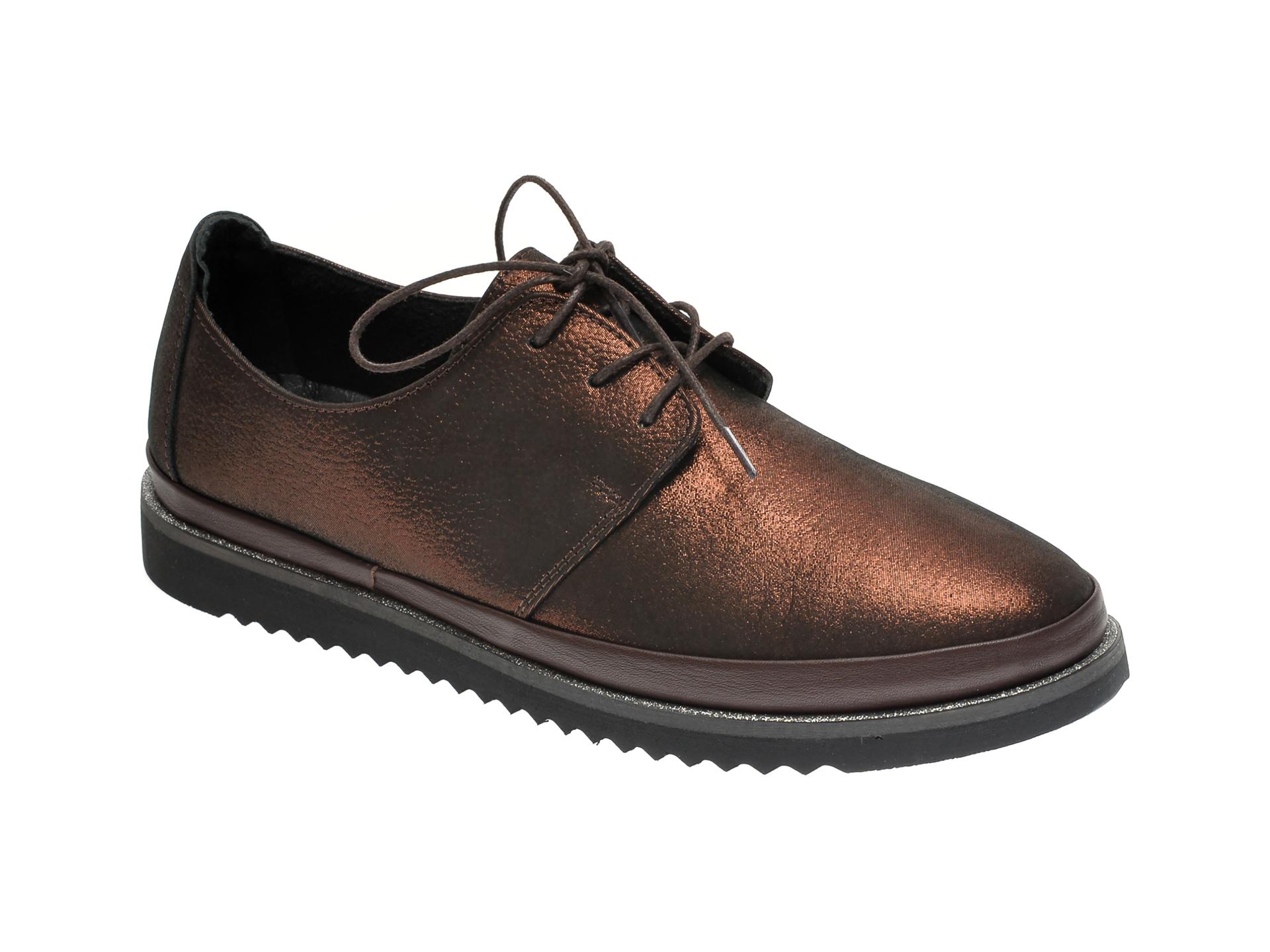 Pantofi ILOZ maro, 8009, din piele naturala imagine