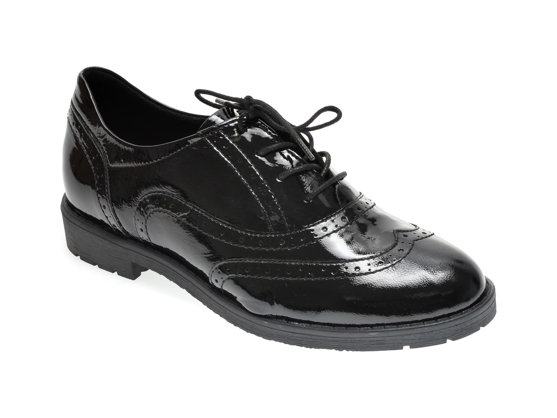 Pantofi ILOZ negri, 1050, din piele naturala lacuita imagine