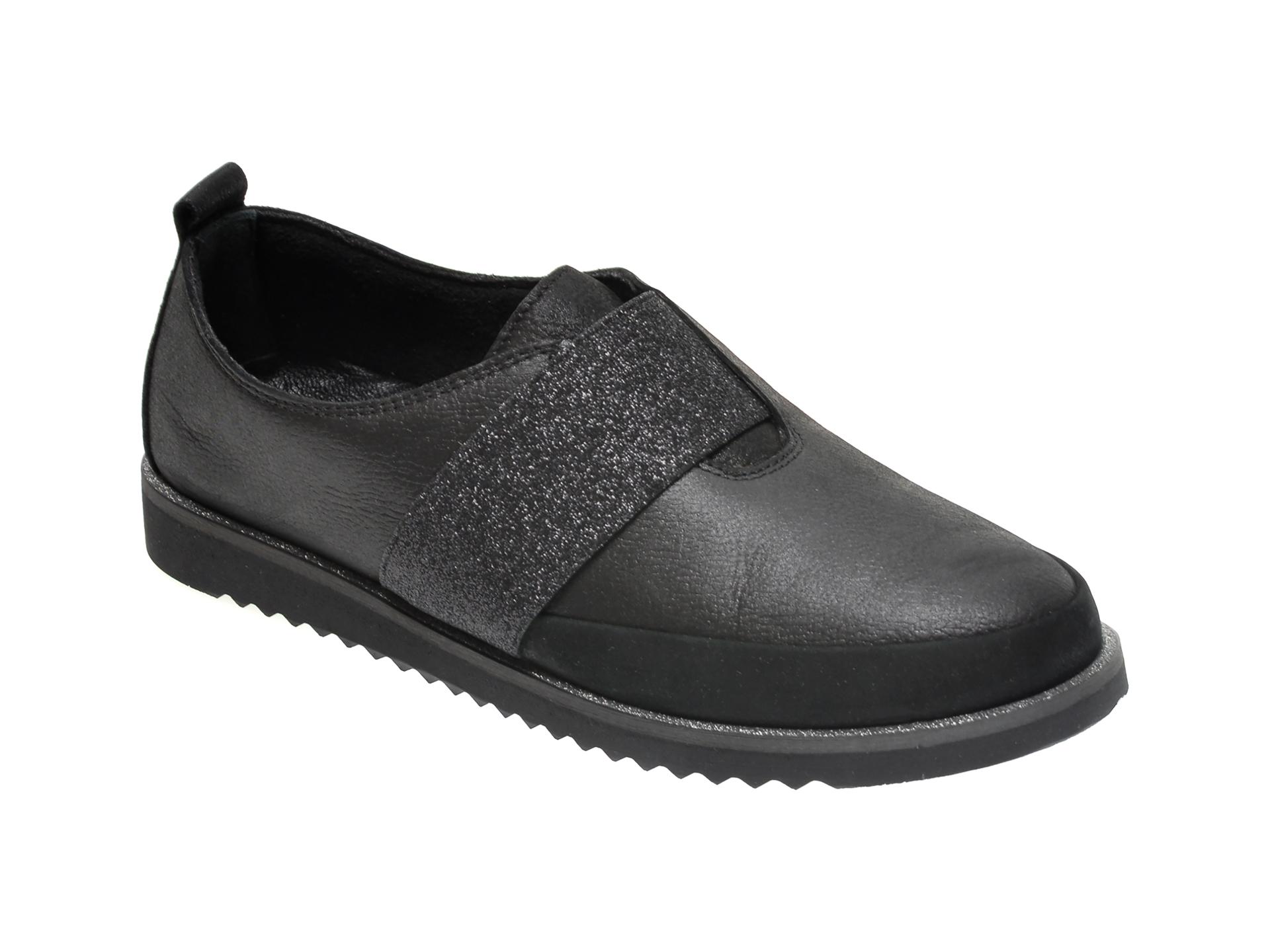 Pantofi ILOZ negri, 2, din piele naturala imagine