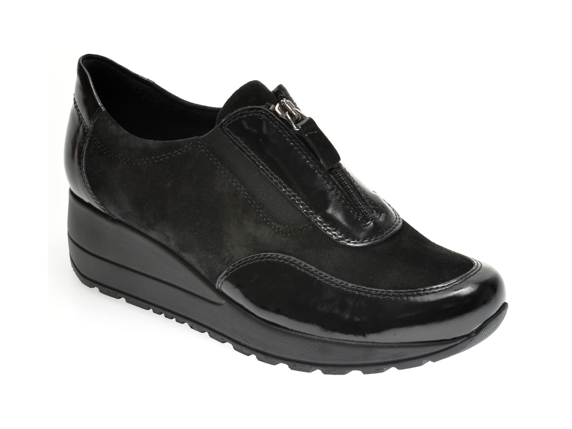Pantofi ILOZ negri, 5097, din piele naturala lacuita imagine