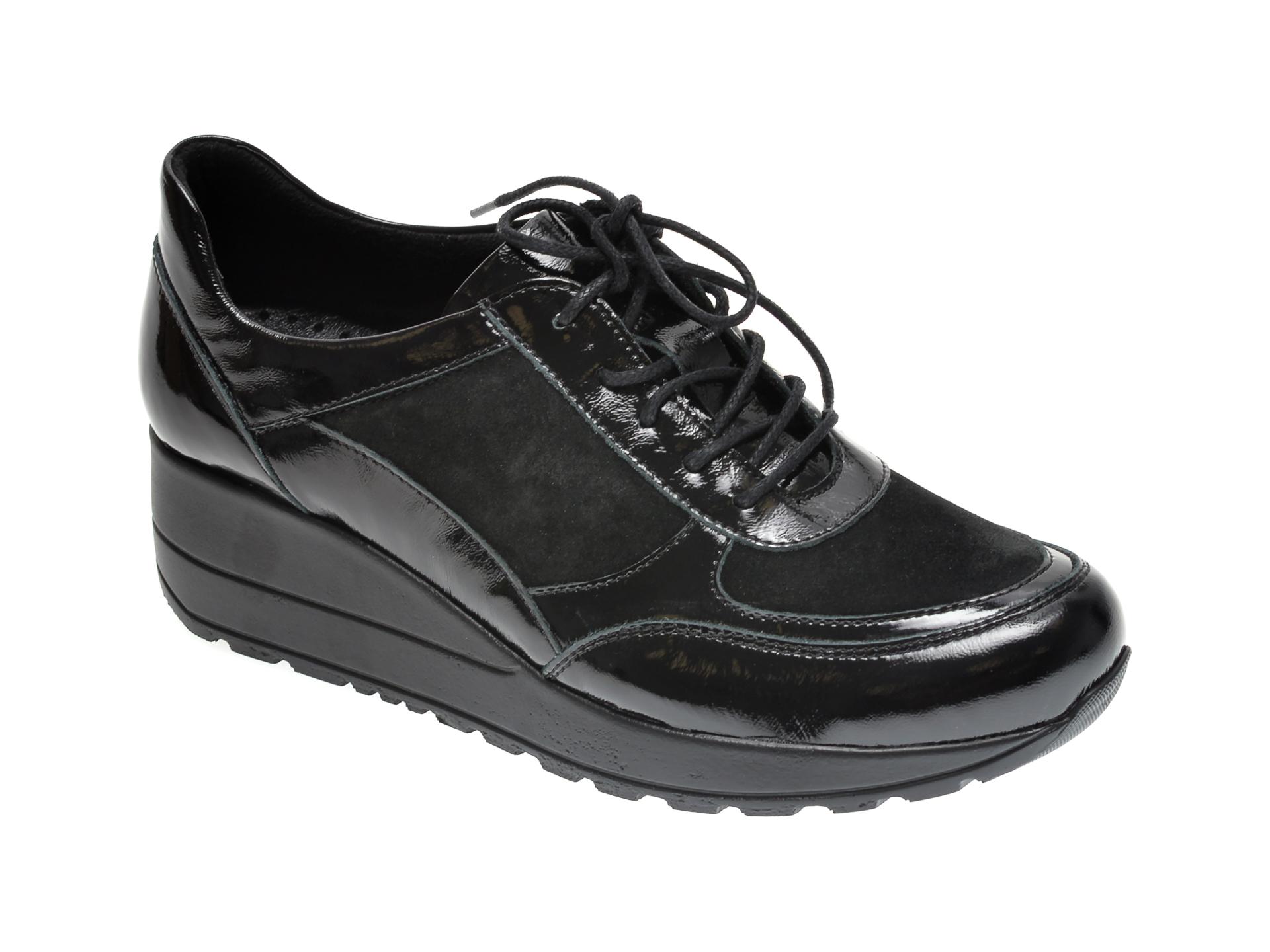 Pantofi ILOZ negri, 6026, din piele naturala lacuita imagine