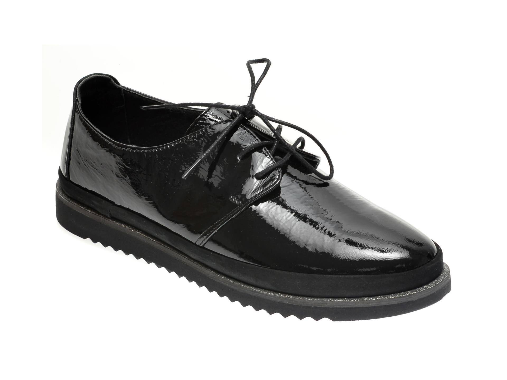 Pantofi ILOZ negri, 8009, din piele naturala lacuita imagine