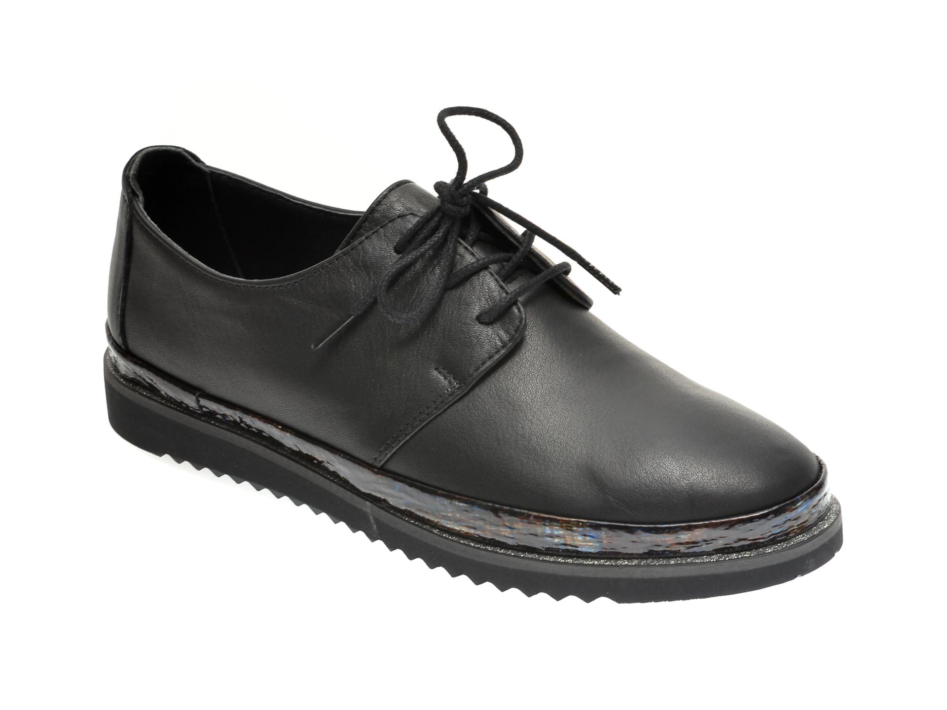 Pantofi ILOZ negri, 8009, din piele naturala imagine