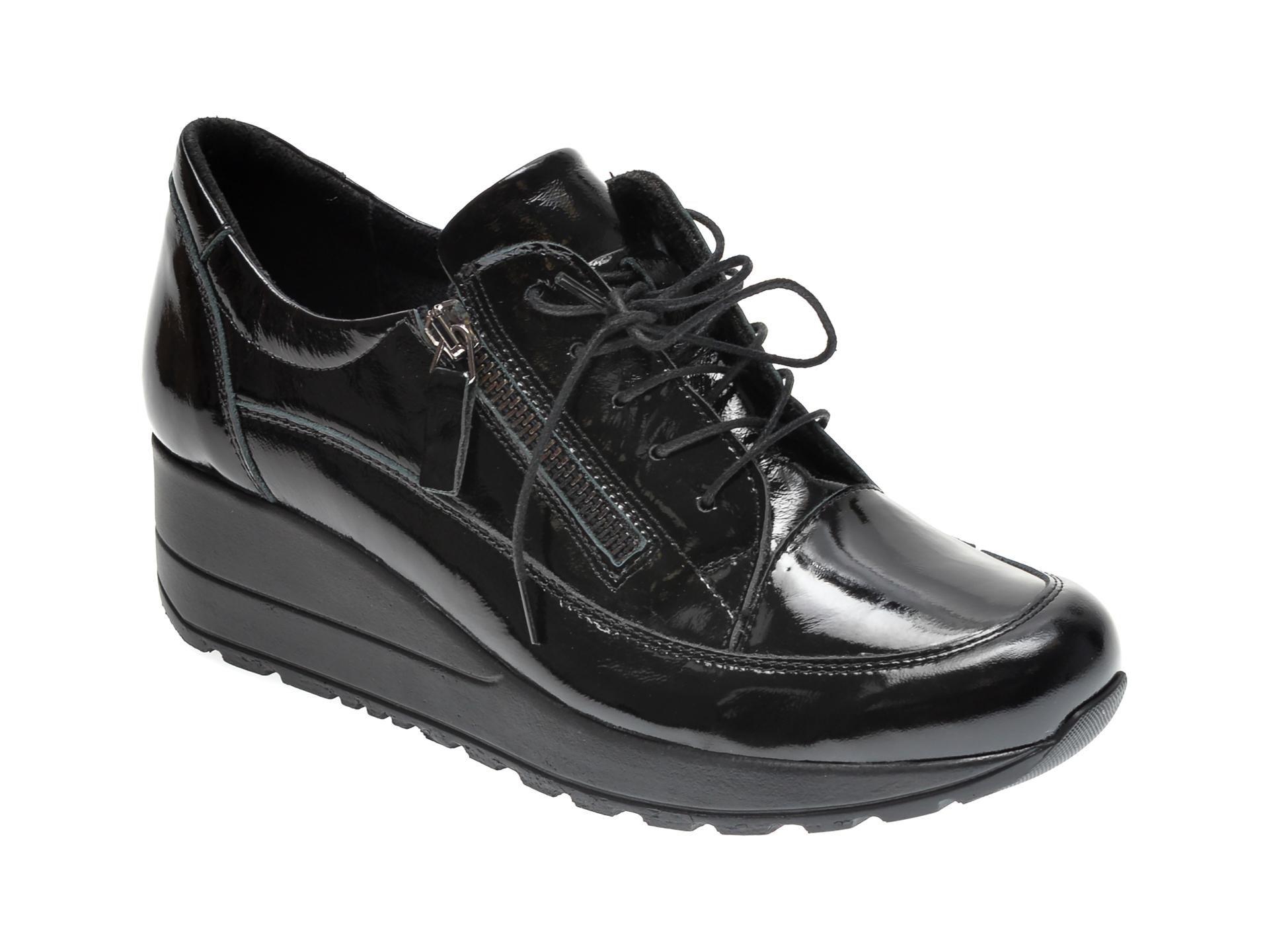 Pantofi ILOZ negri, 9217, din piele naturala lacuita imagine