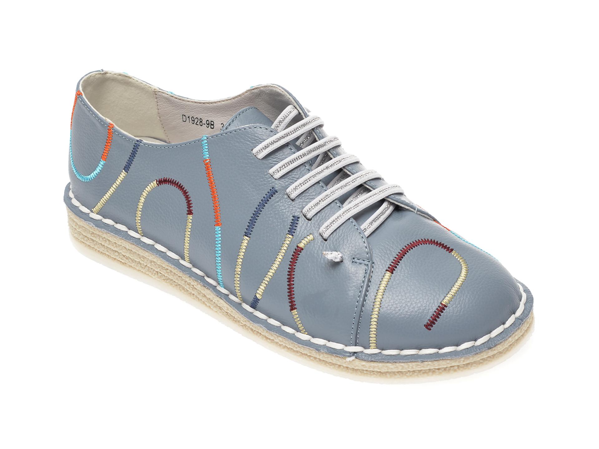 Pantofi IMAGE albastri, D19289, din piele naturala imagine