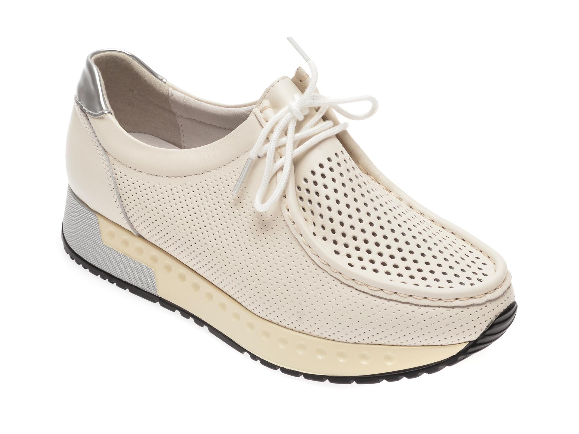 Pantofi IMAGE albi, 8590701, din piele naturala imagine