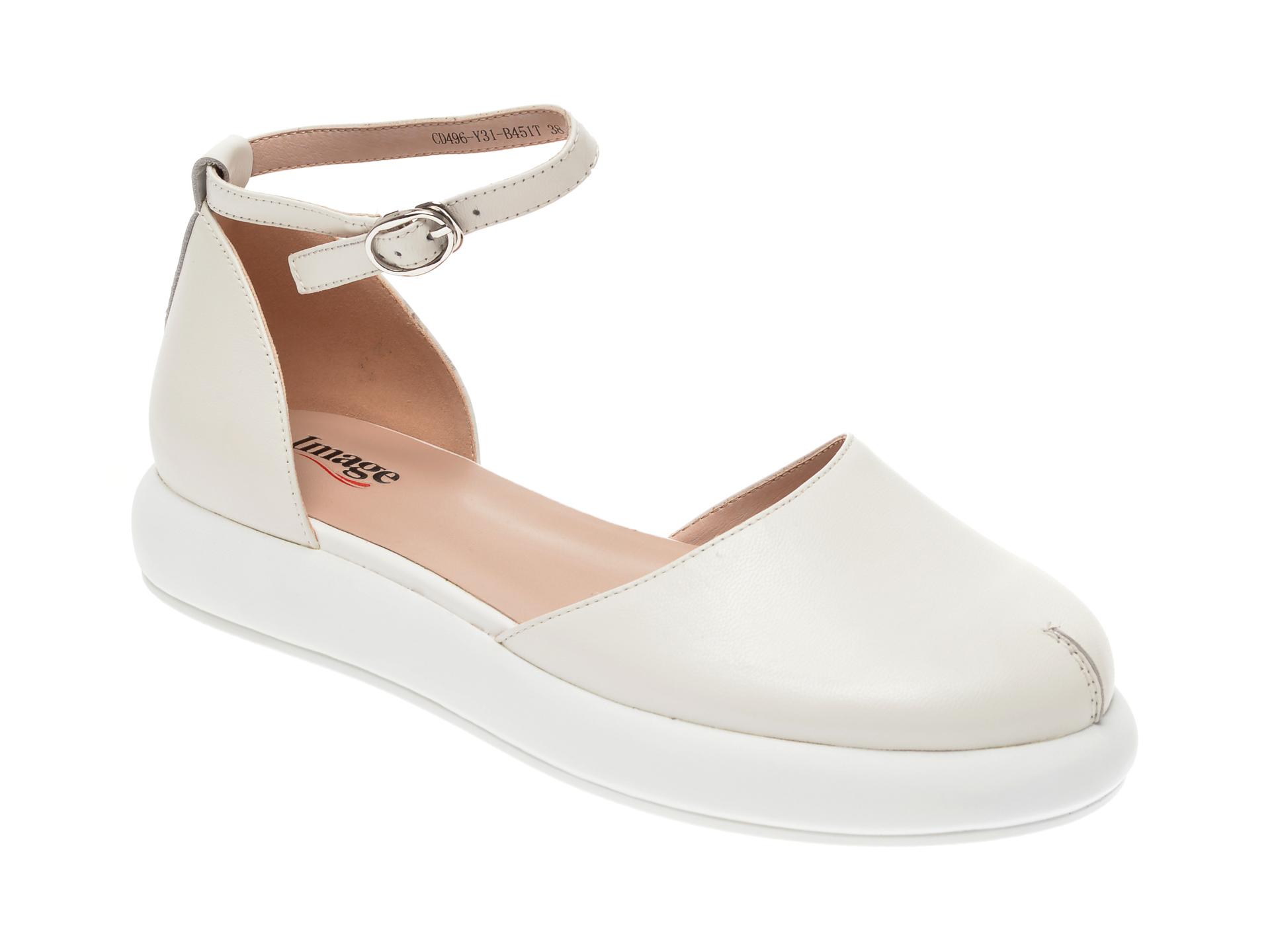 Pantofi IMAGE albi, CD496Y3, din piele naturala imagine