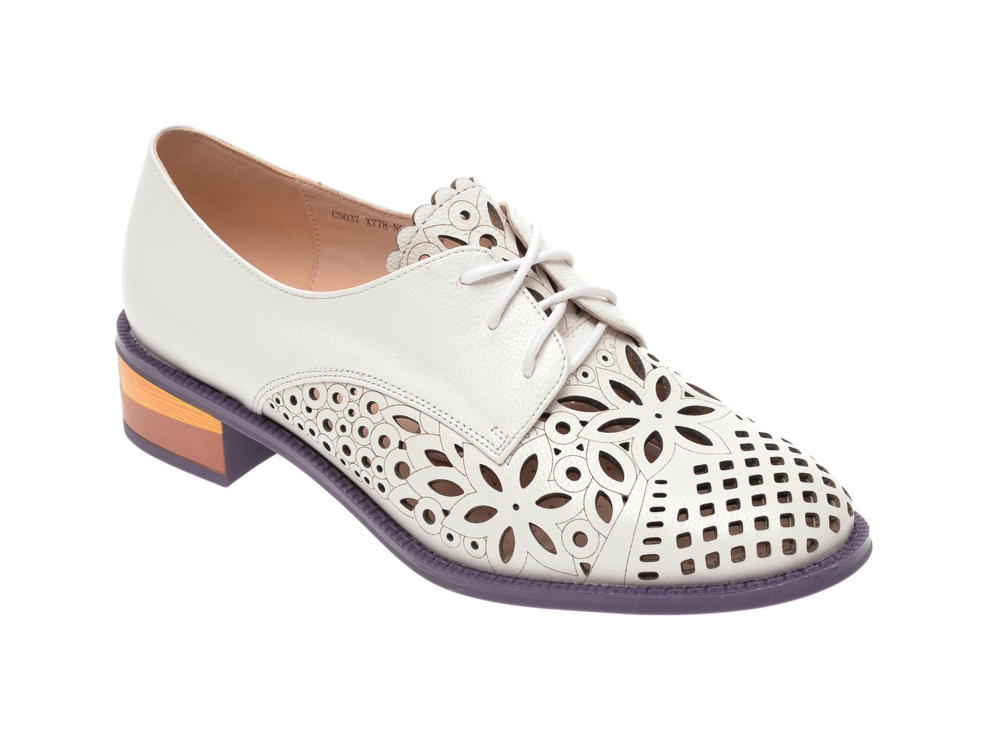 Pantofi IMAGE albi, CS037X7, din piele naturala