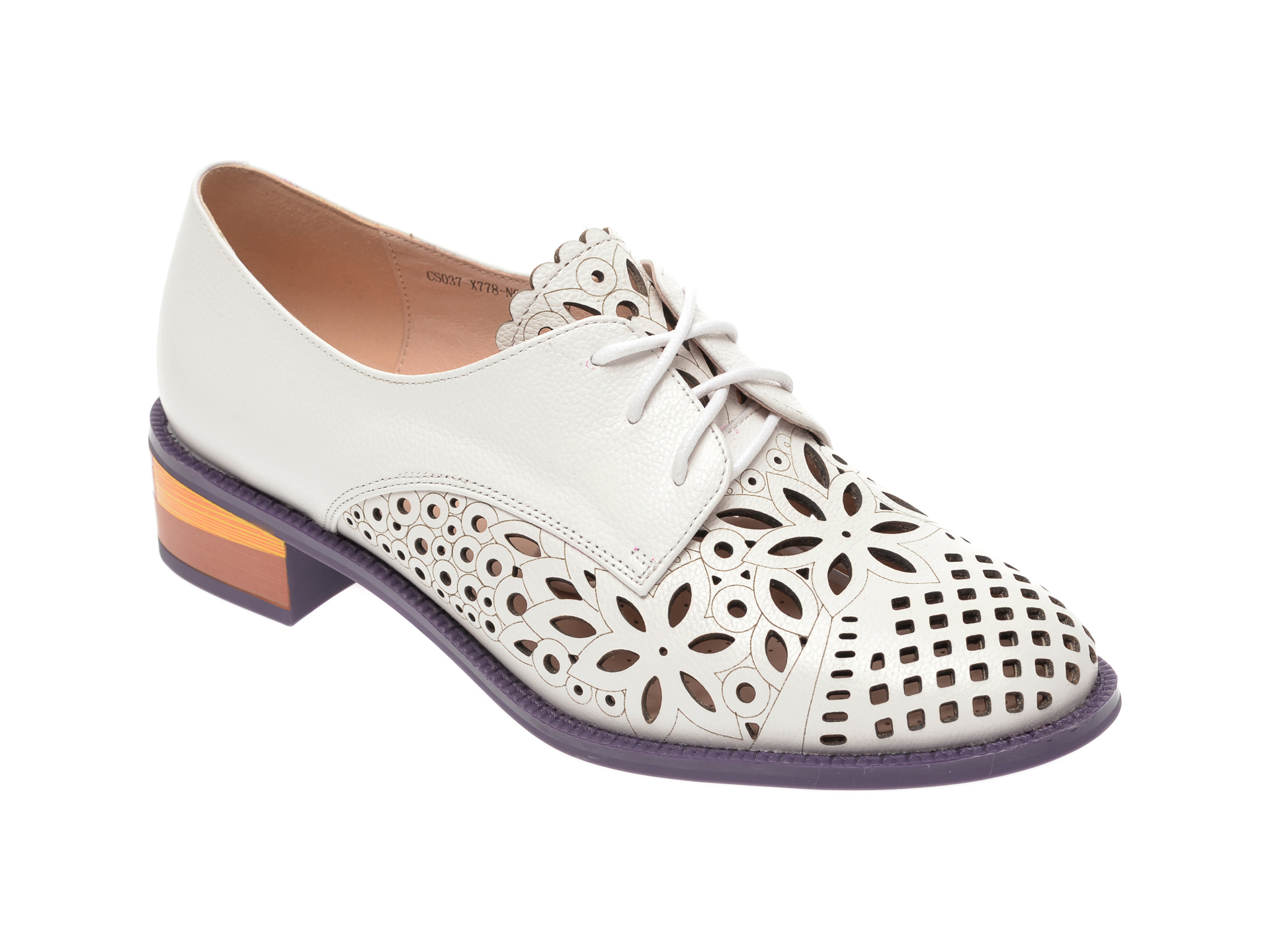 Pantofi IMAGE albi, CS037X7, din piele naturala imagine