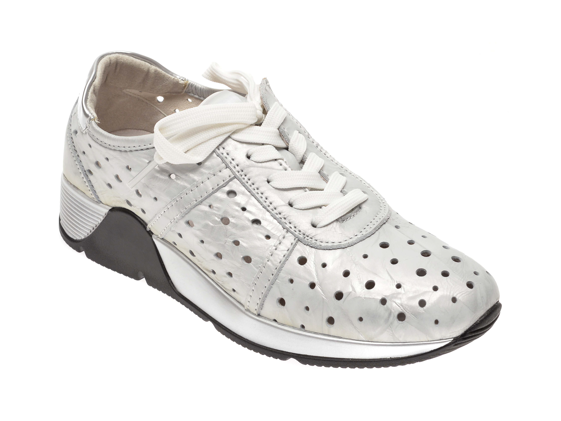 Pantofi Image Argintii, 8595395, Din Piele Naturala