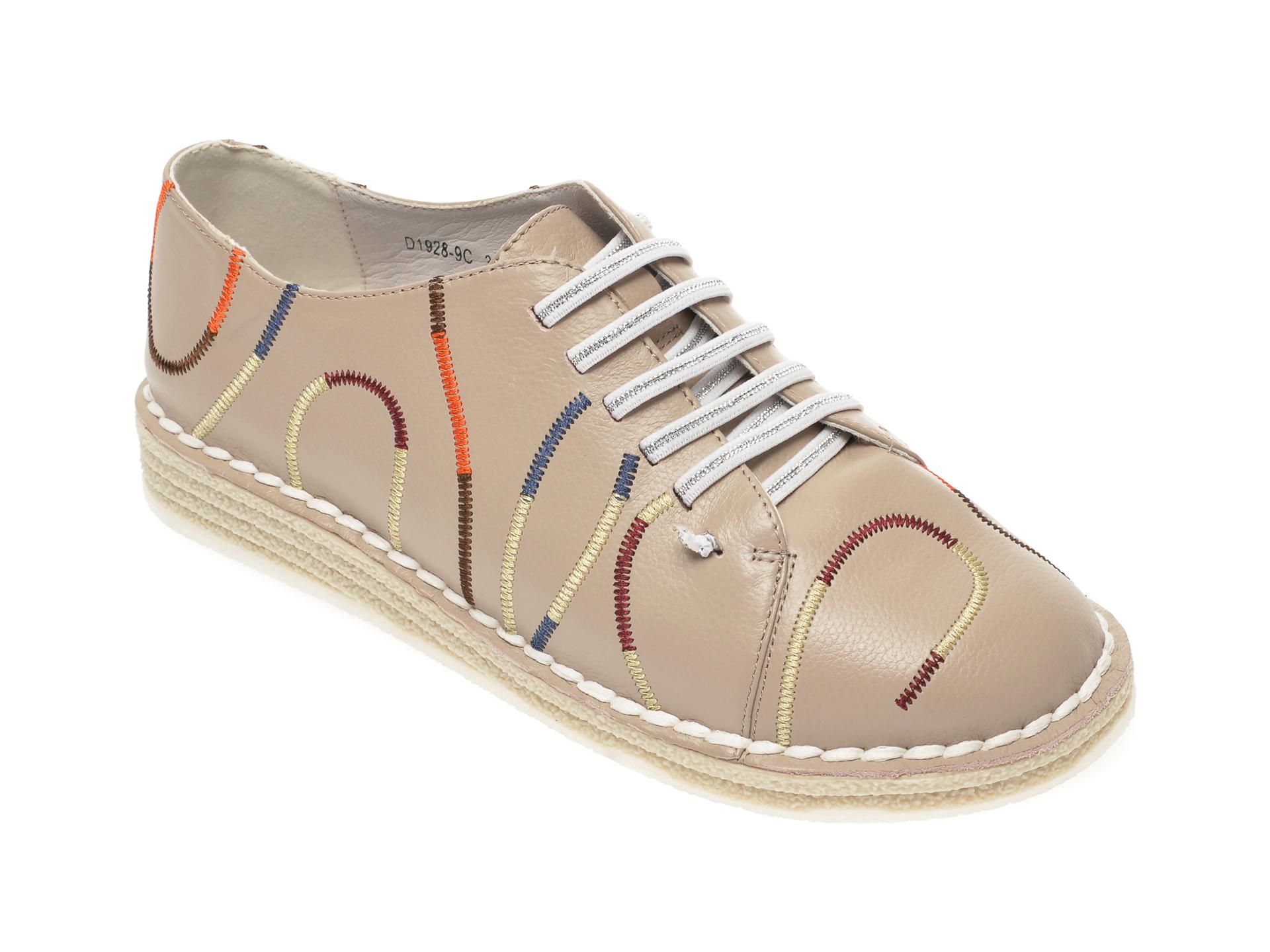 Pantofi IMAGE bej, D19289, din piele naturala imagine