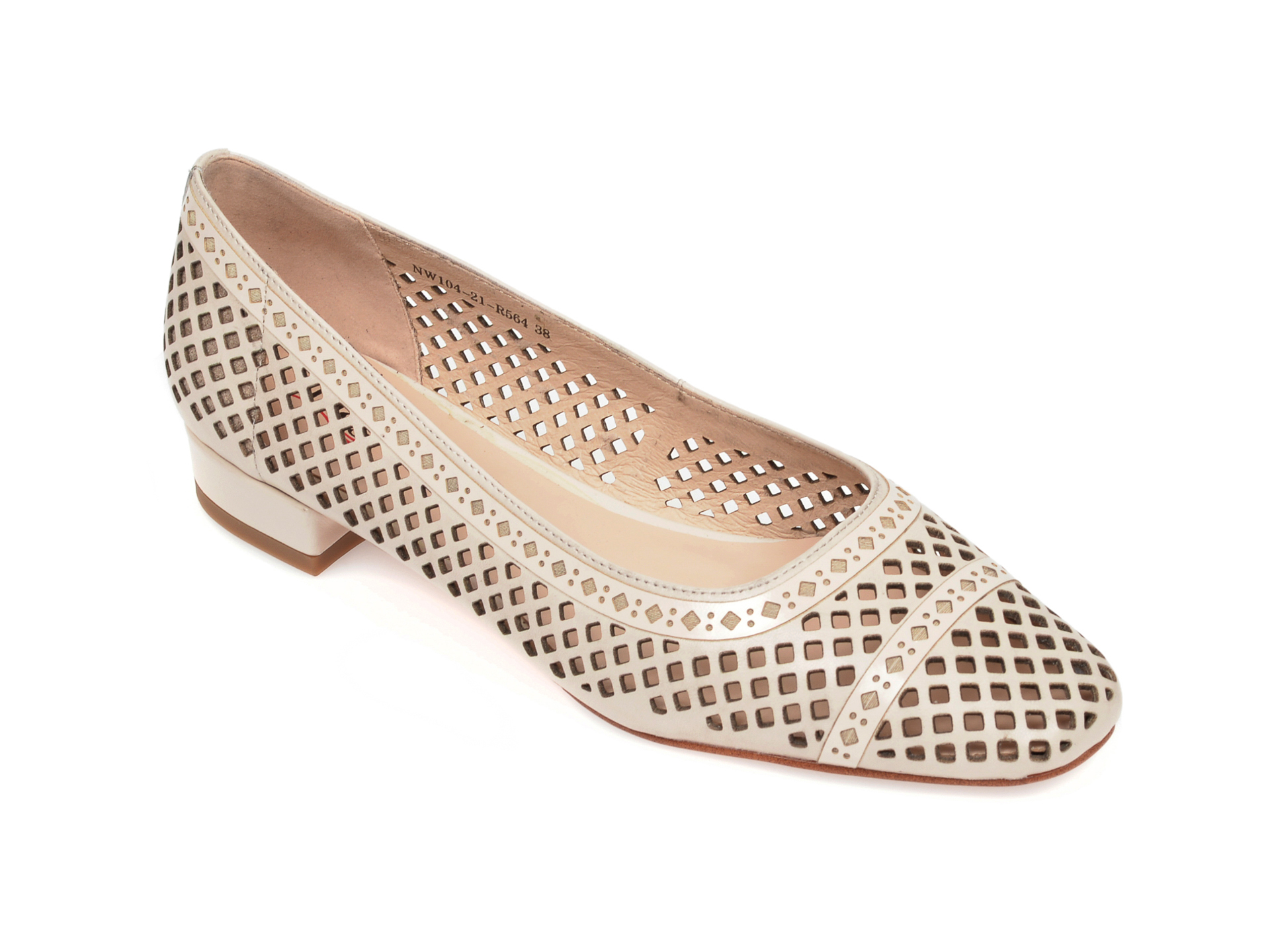 Pantofi IMAGE bej, NW10421, din piele naturala imagine