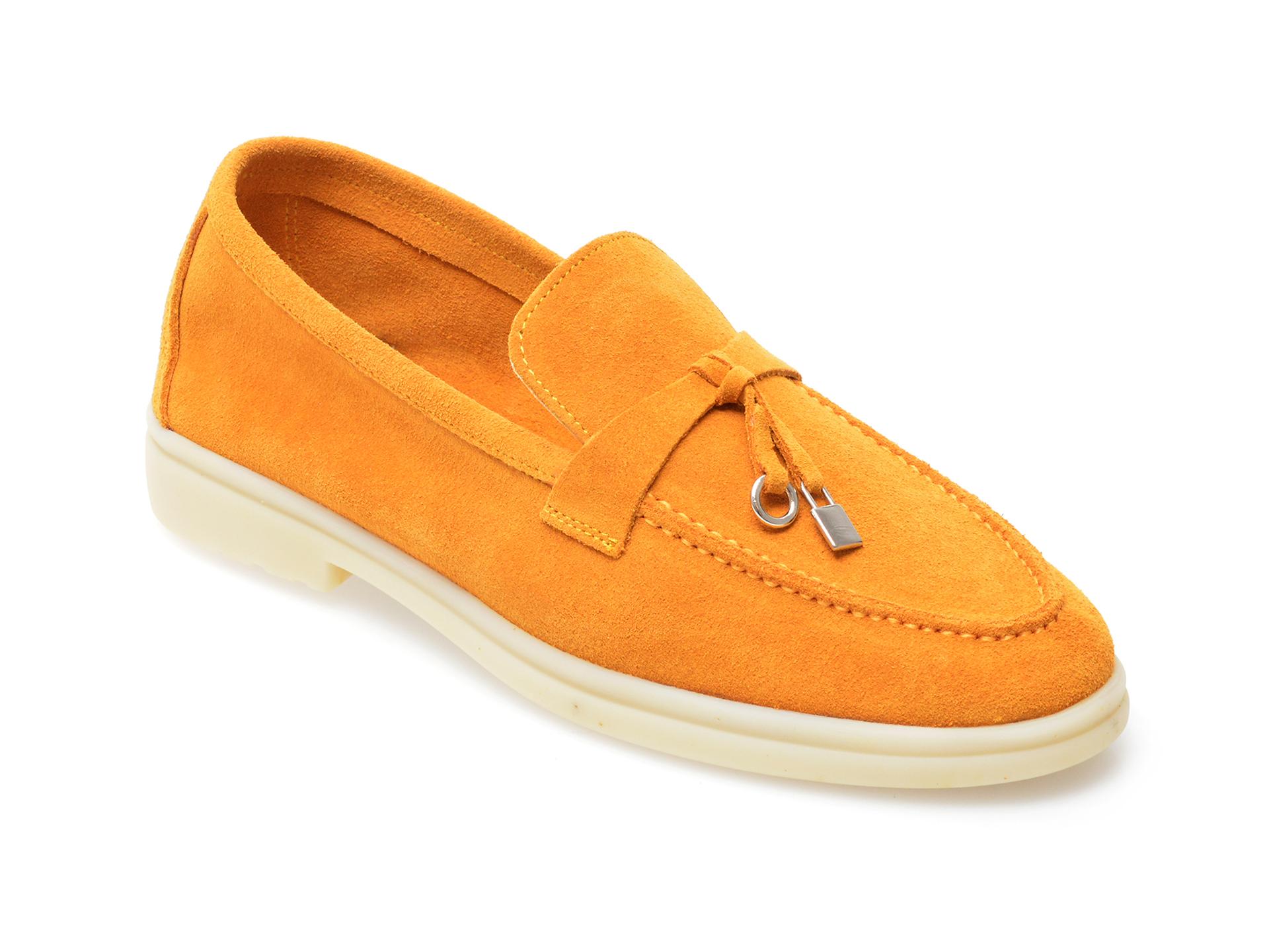 Pantofi IMAGE galbeni, 205100, din piele intoarsa imagine otter.ro 2021