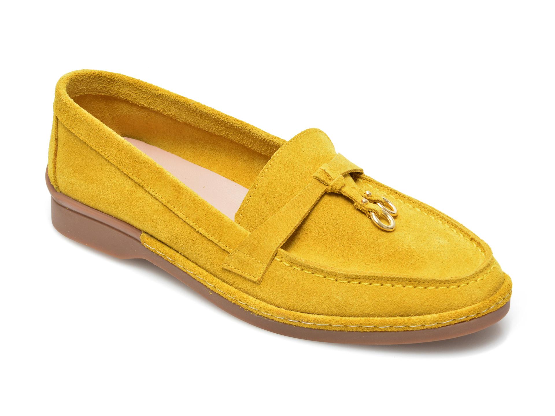Pantofi IMAGE galbeni, 838, din piele intoarsa imagine otter.ro 2021