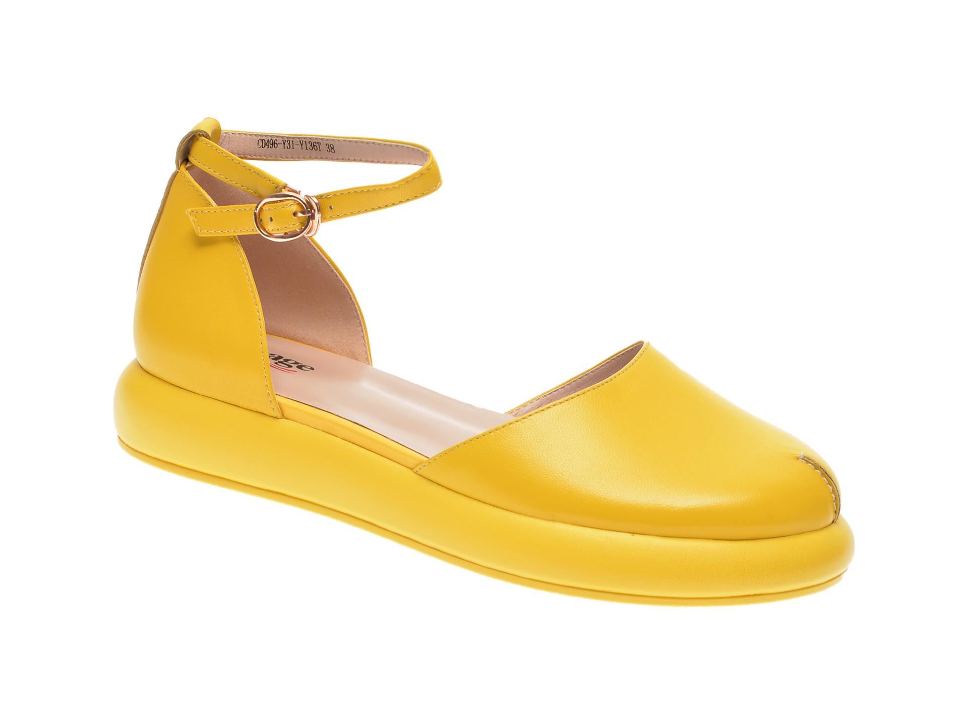 Pantofi IMAGE galbeni, CD496Y3, din piele naturala imagine