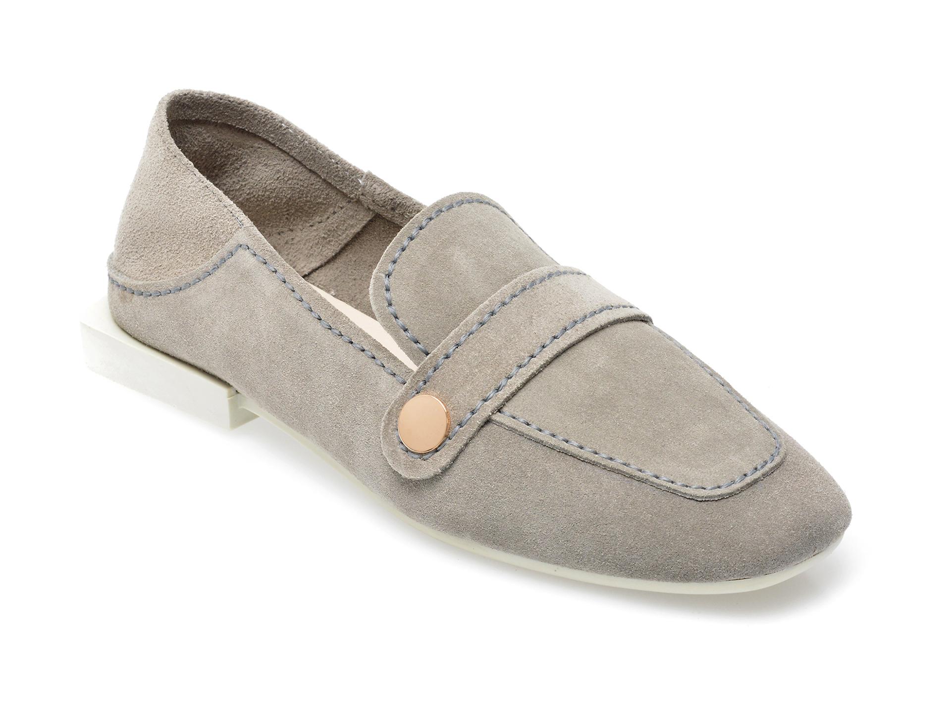 Pantofi IMAGE gri, 205101, din piele intoarsa imagine otter.ro 2021