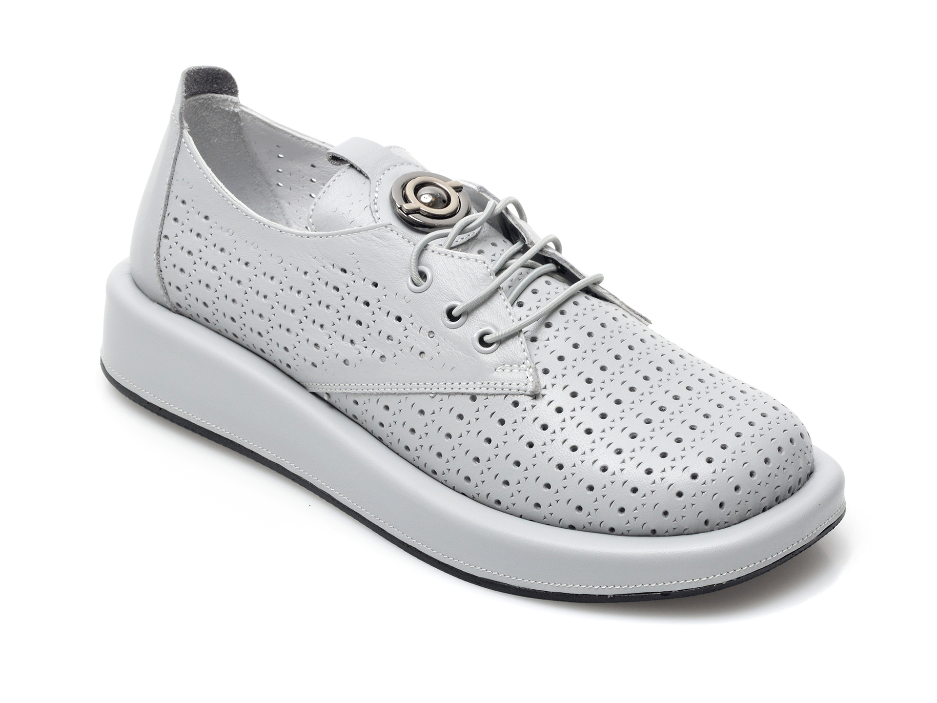 Pantofi IMAGE gri, 622120, din piele naturala imagine otter.ro 2021