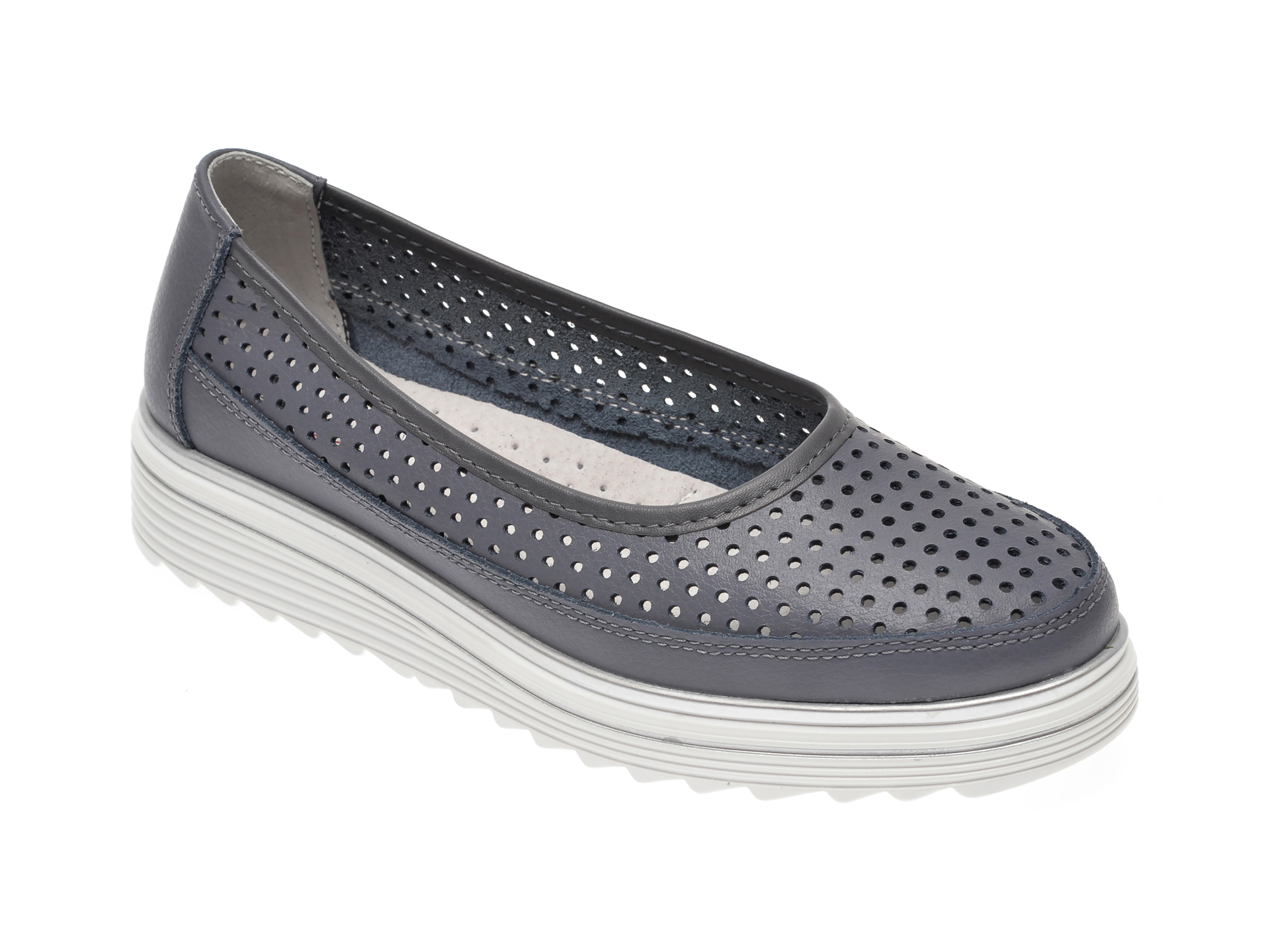 Pantofi IMAGE gri, 805, din piele naturala imagine