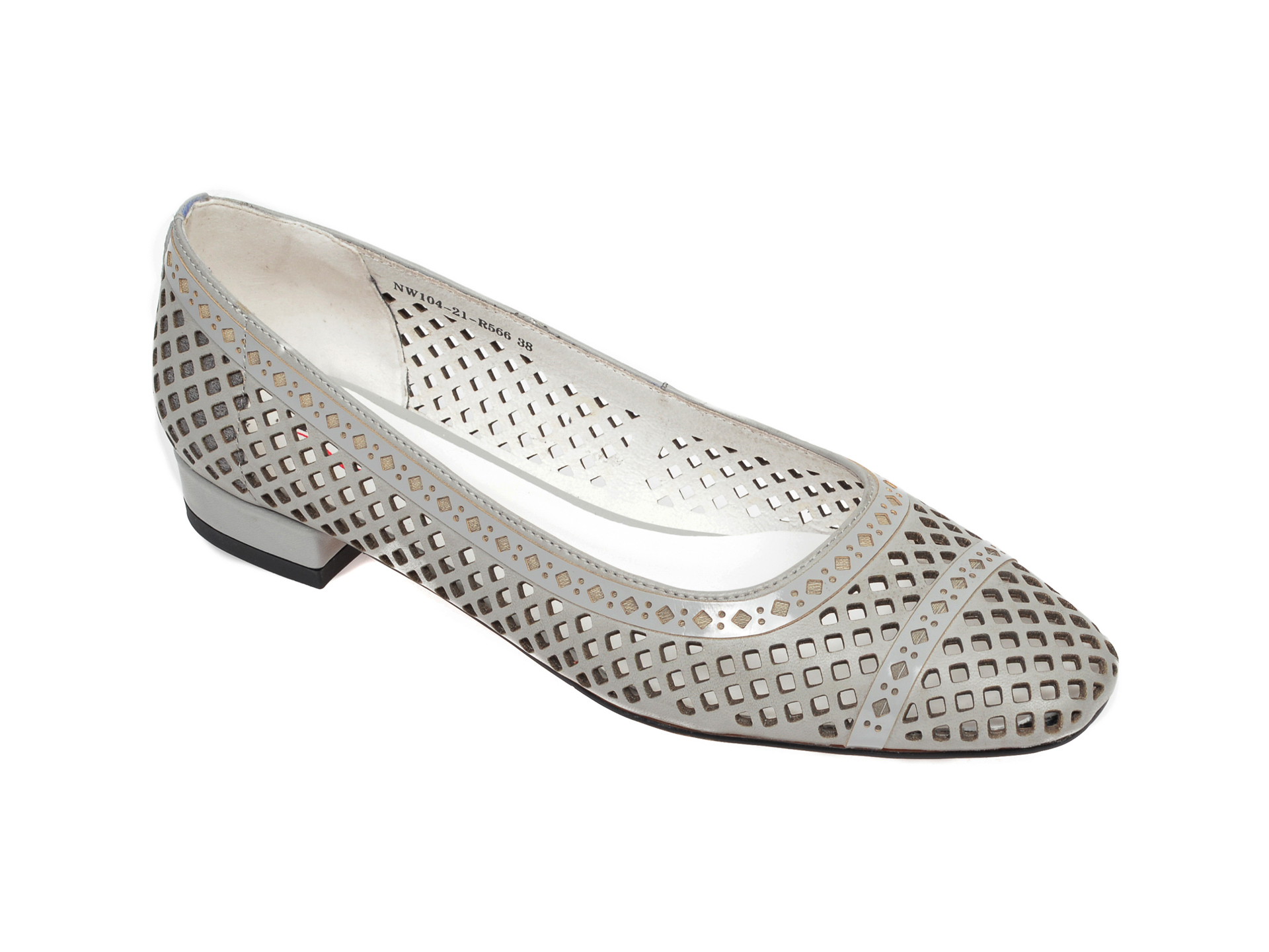 Pantofi IMAGE gri, NW10421, din piele naturala imagine