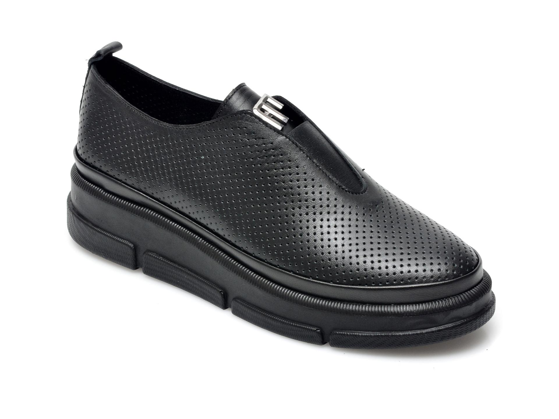 Pantofi IMAGE negri, 282940, din piele naturala imagine otter.ro