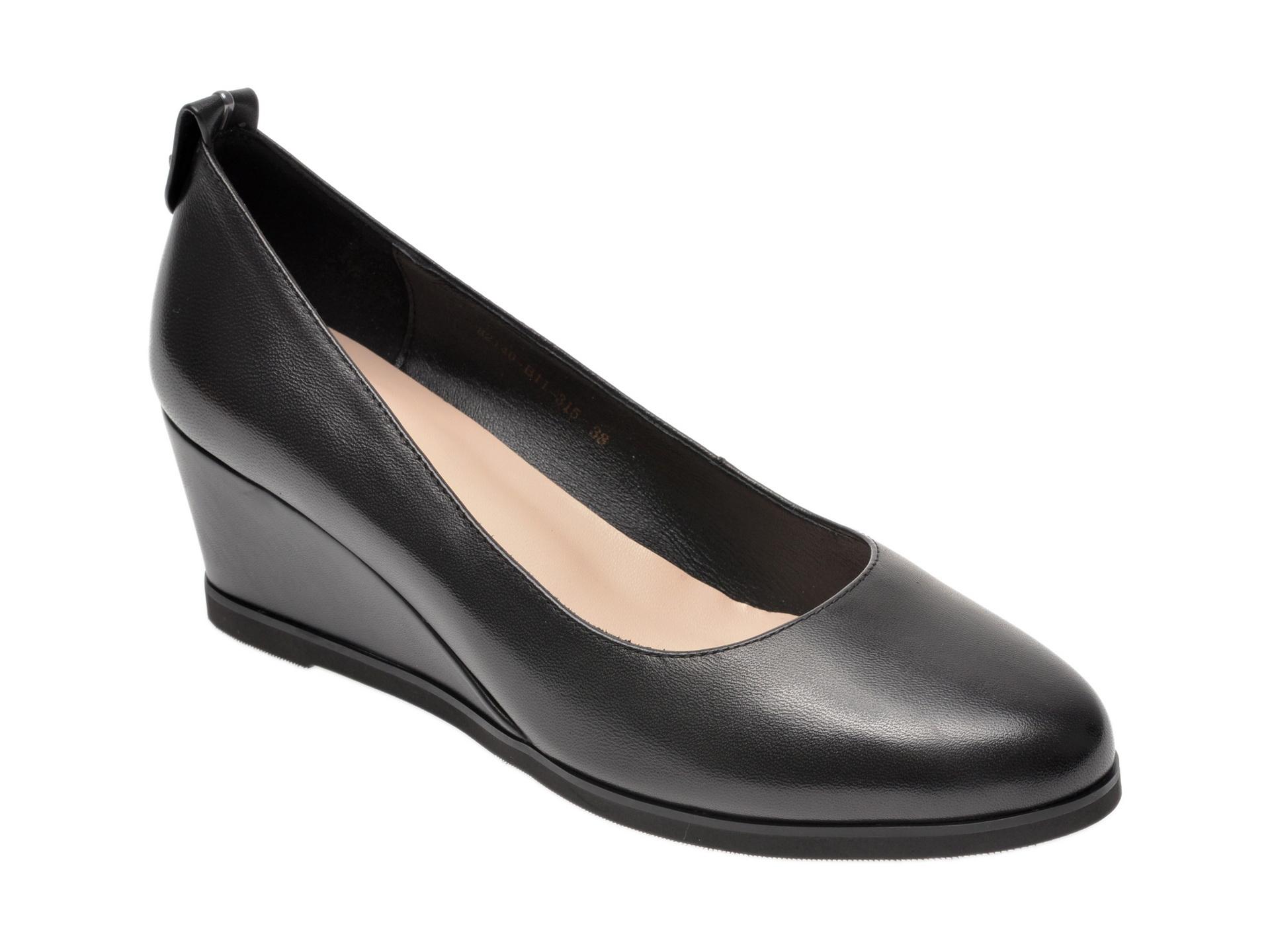 Pantofi IMAGE negri, 82140B1, din piele naturala