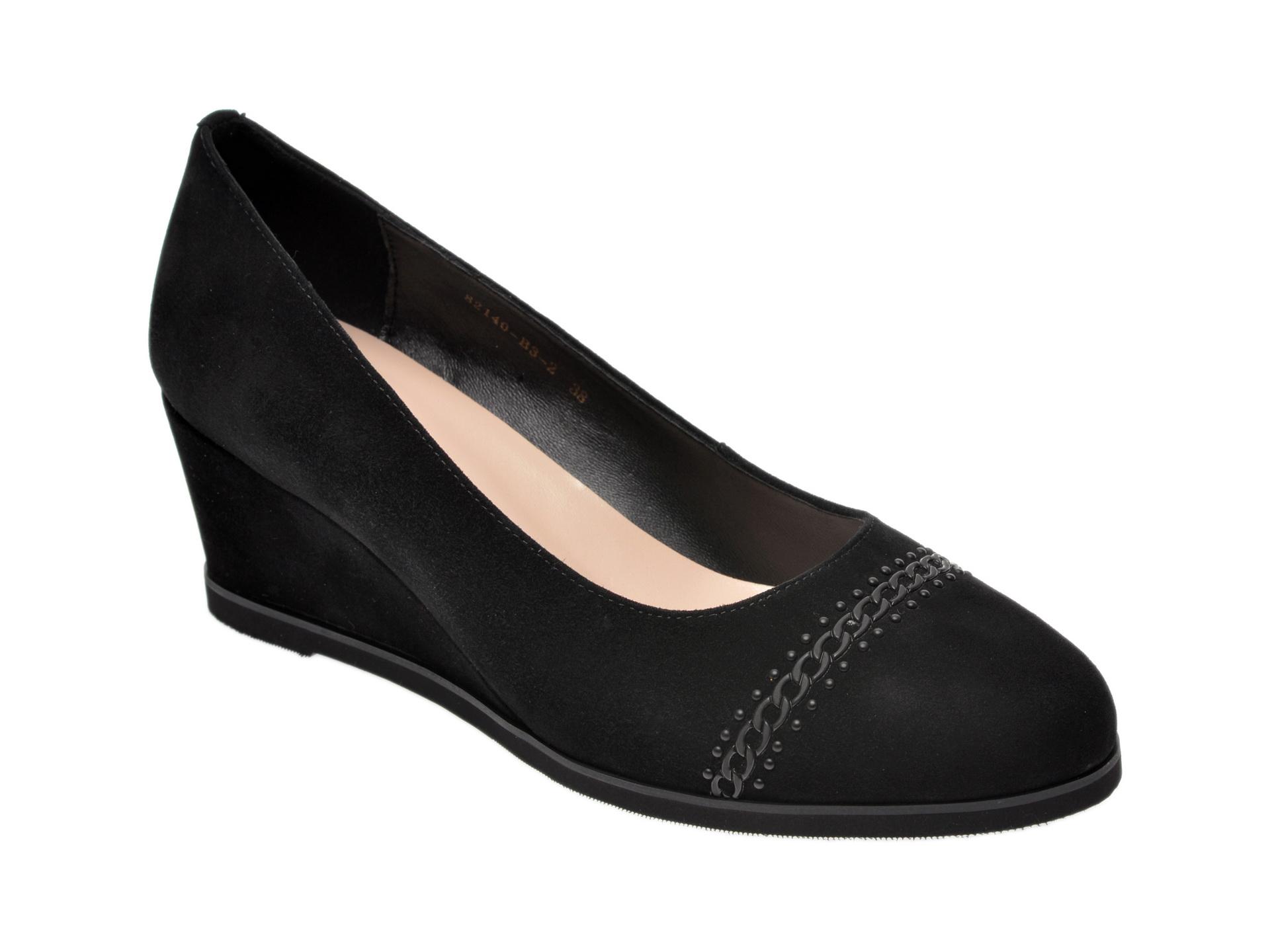 Pantofi IMAGE negri, 82140B3, din piele intoarsa imagine