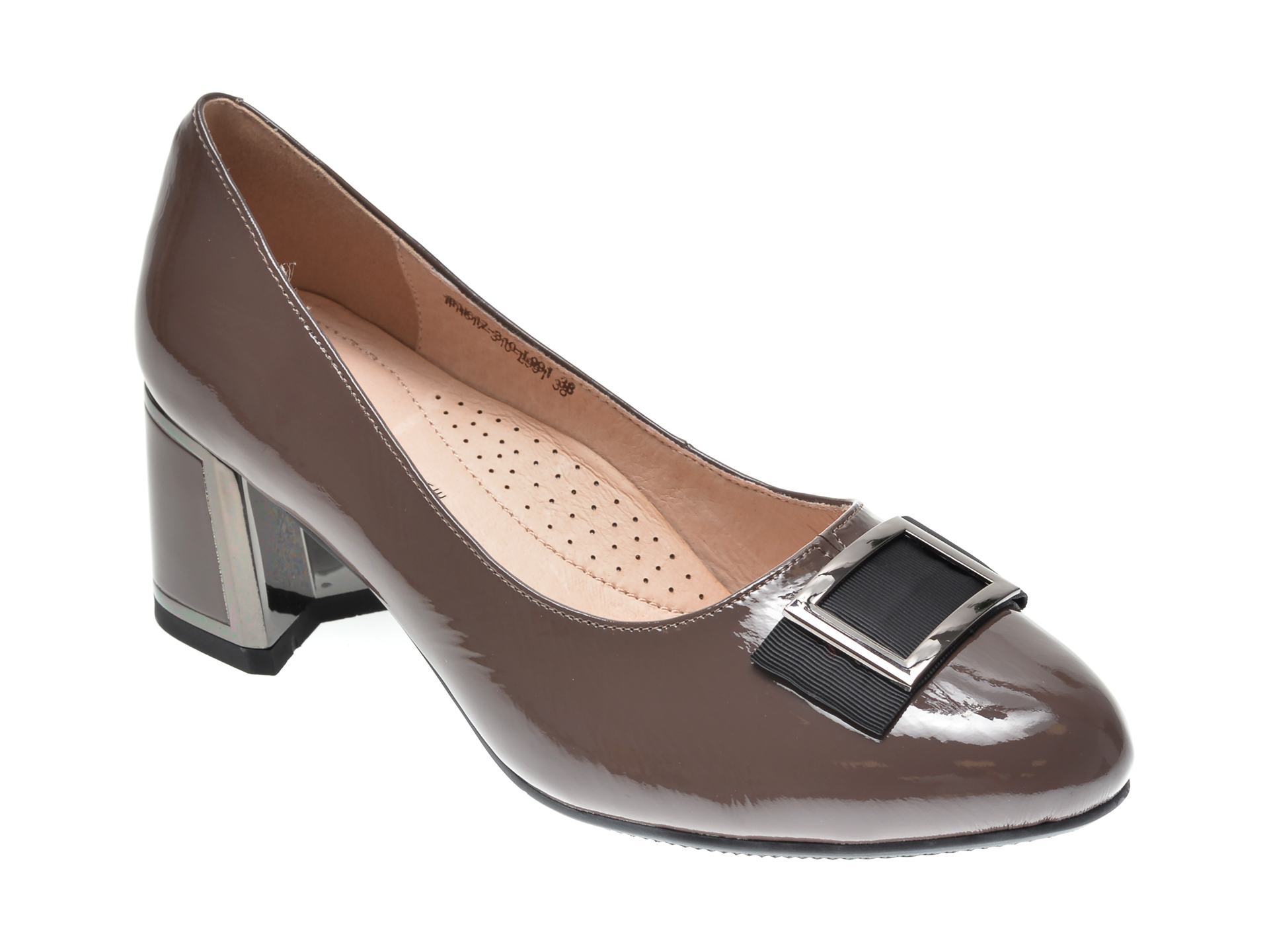 Pantofi KARISMA gri, 1FH6310, din piele naturala lacuita New