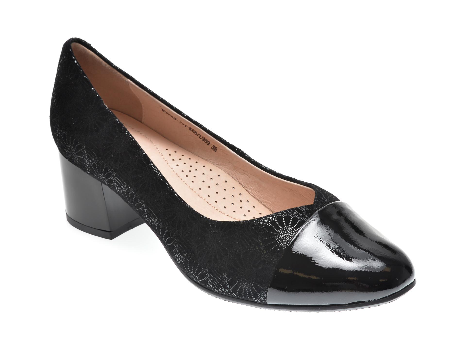 Pantofi KARISMA negri, 1FH6701, din piele intoarsa New