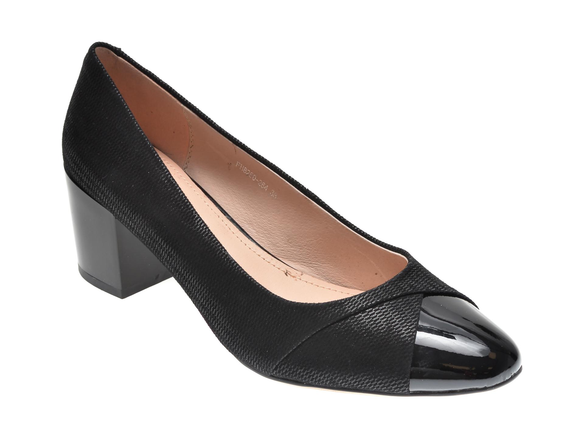Pantofi KARISMA negri, 8260264, din piele intoarsa imagine