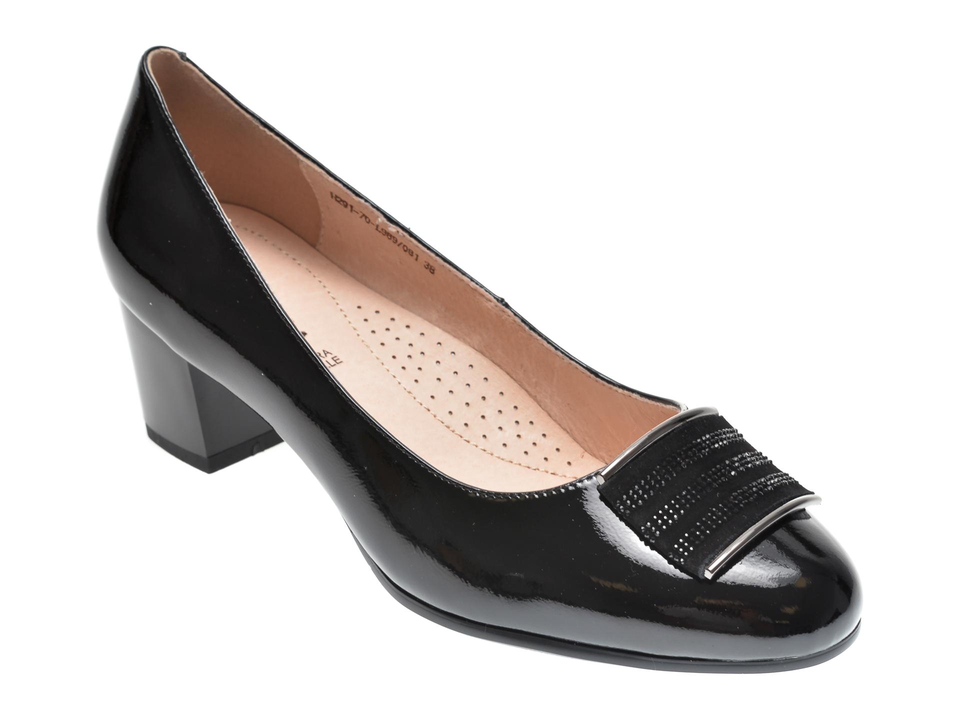 Pantofi KARISMA negri, H29170, din piele naturala lacuita imagine