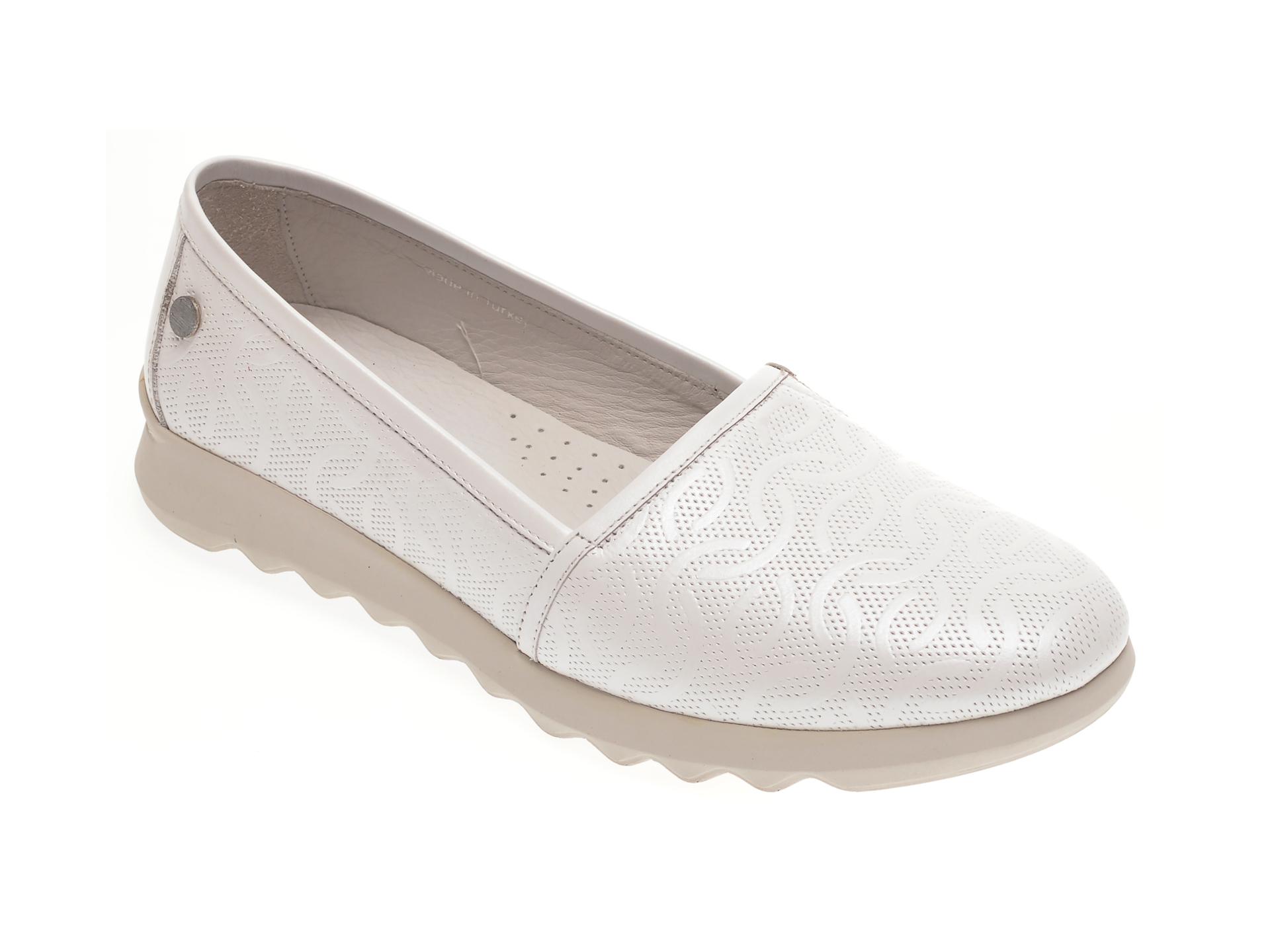 Pantofi LE BERDE albi, 146FERM, din piele naturala