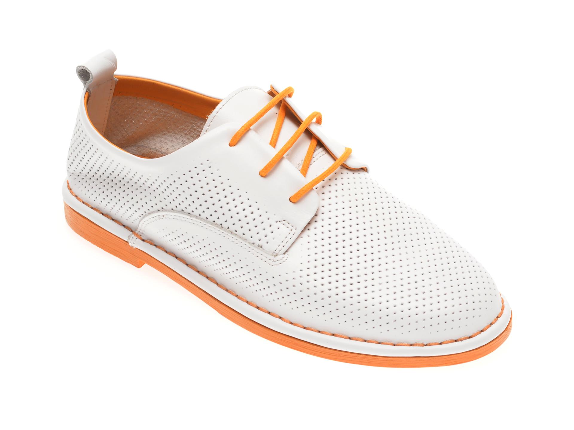 Pantofi LE BERDE albi, 76200M5, din piele naturala