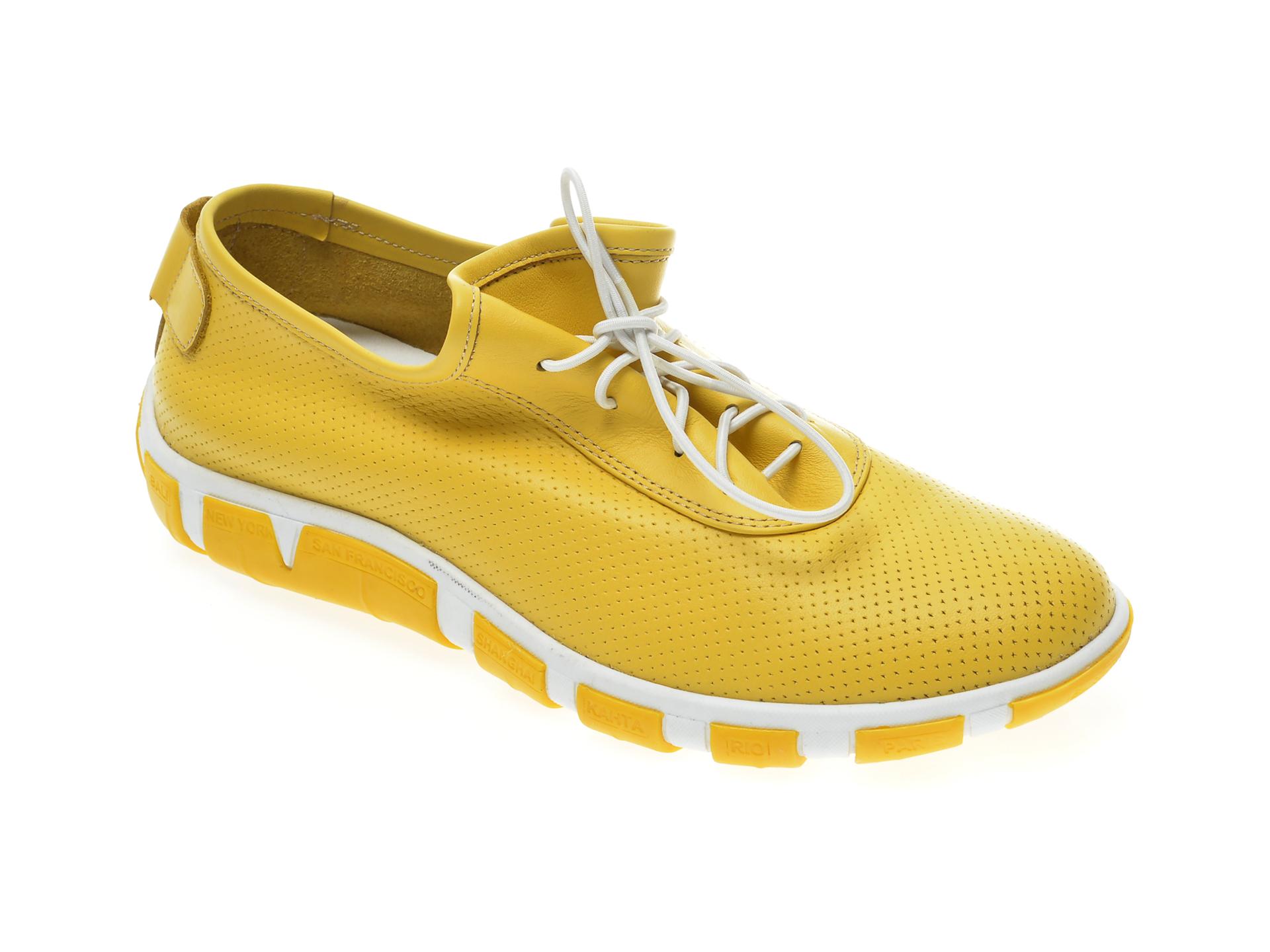 Pantofi Le Berde Galbeni, 52, Din Piele Naturala