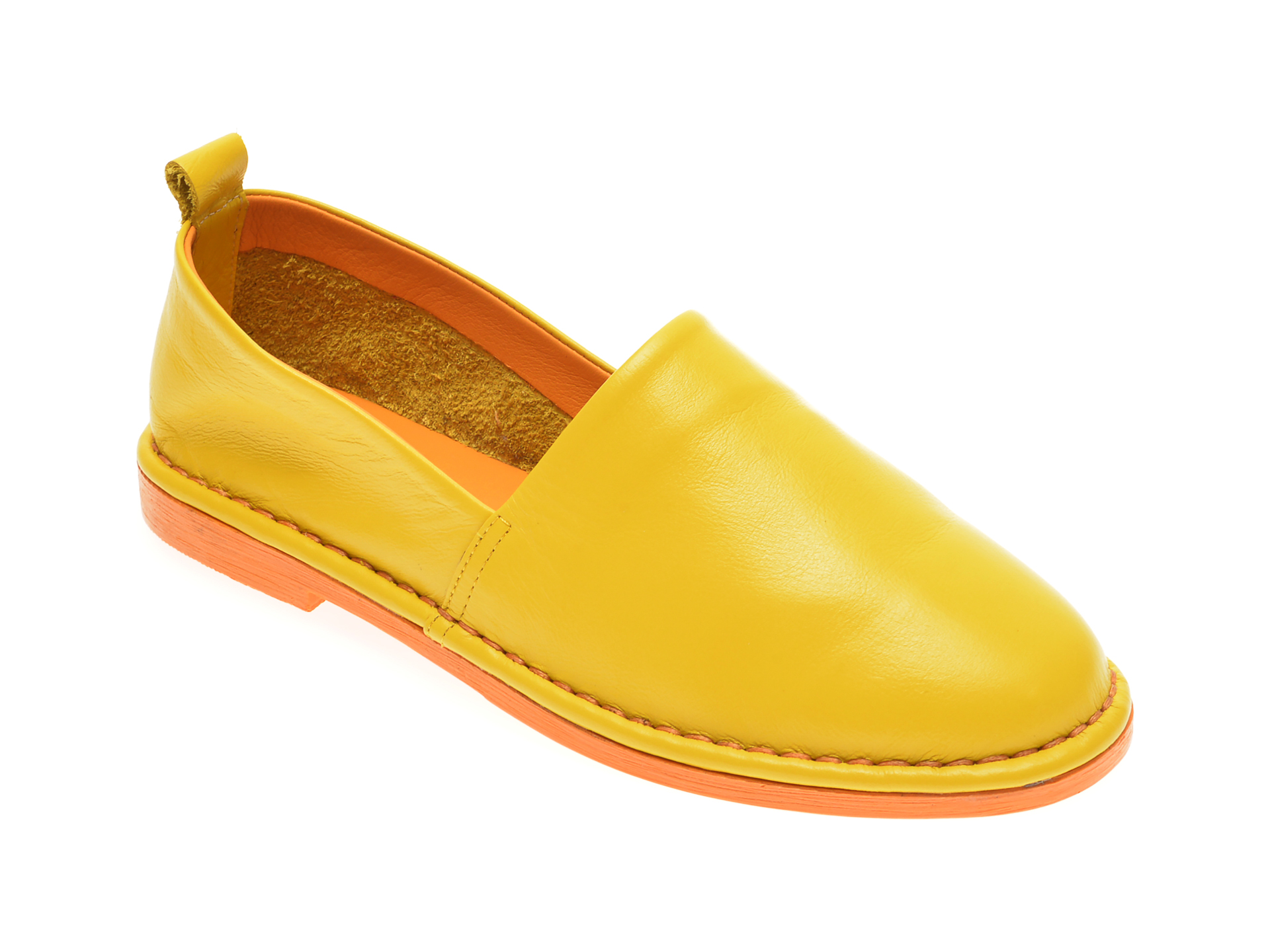 Pantofi LE BERDE galbeni, 76100M5, din piele naturala imagine