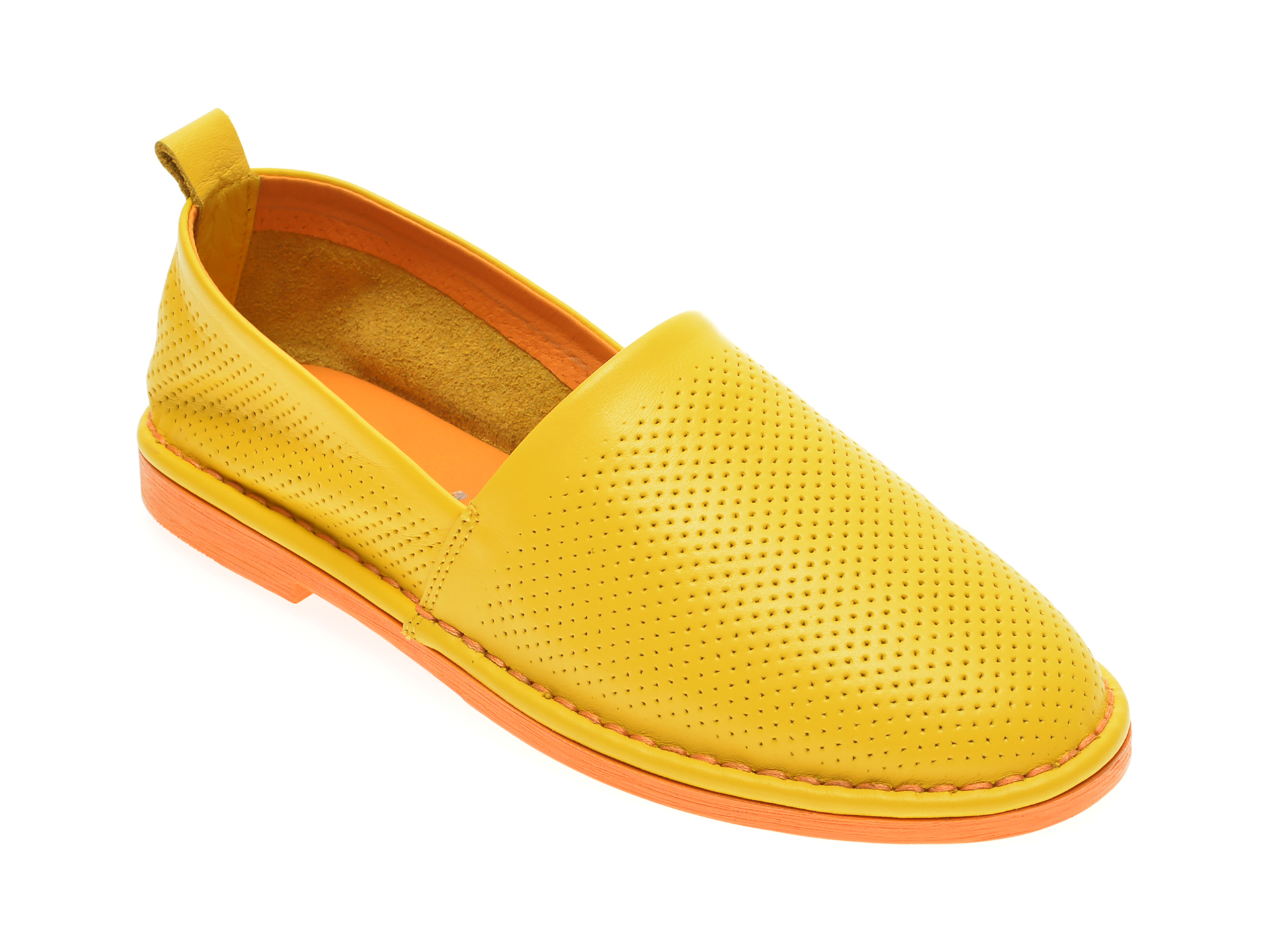 Pantofi LE BERDE galbeni, 76100M6, din piele naturala
