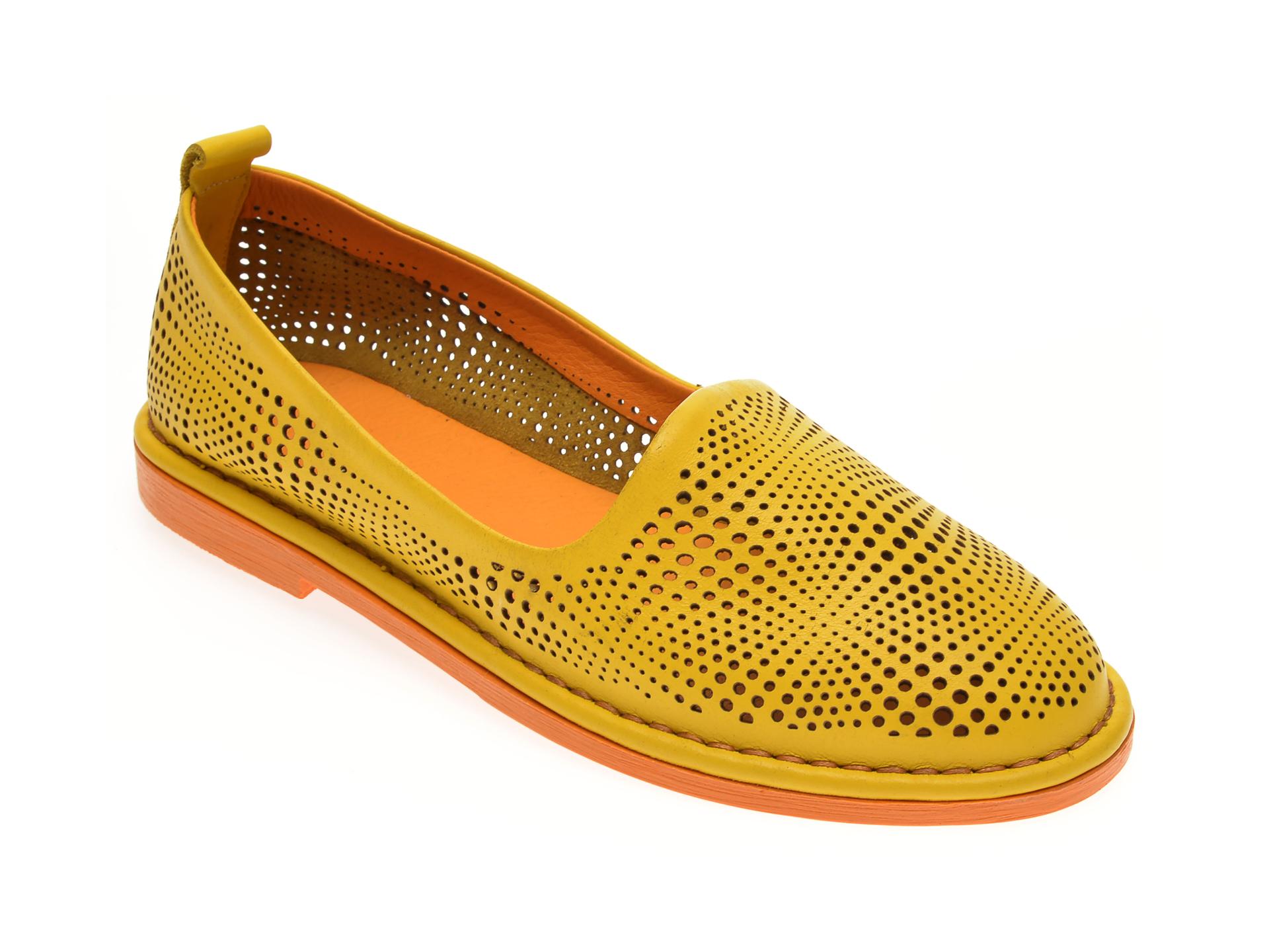 Pantofi LE BERDE galbeni, 76600M5, din piele naturala