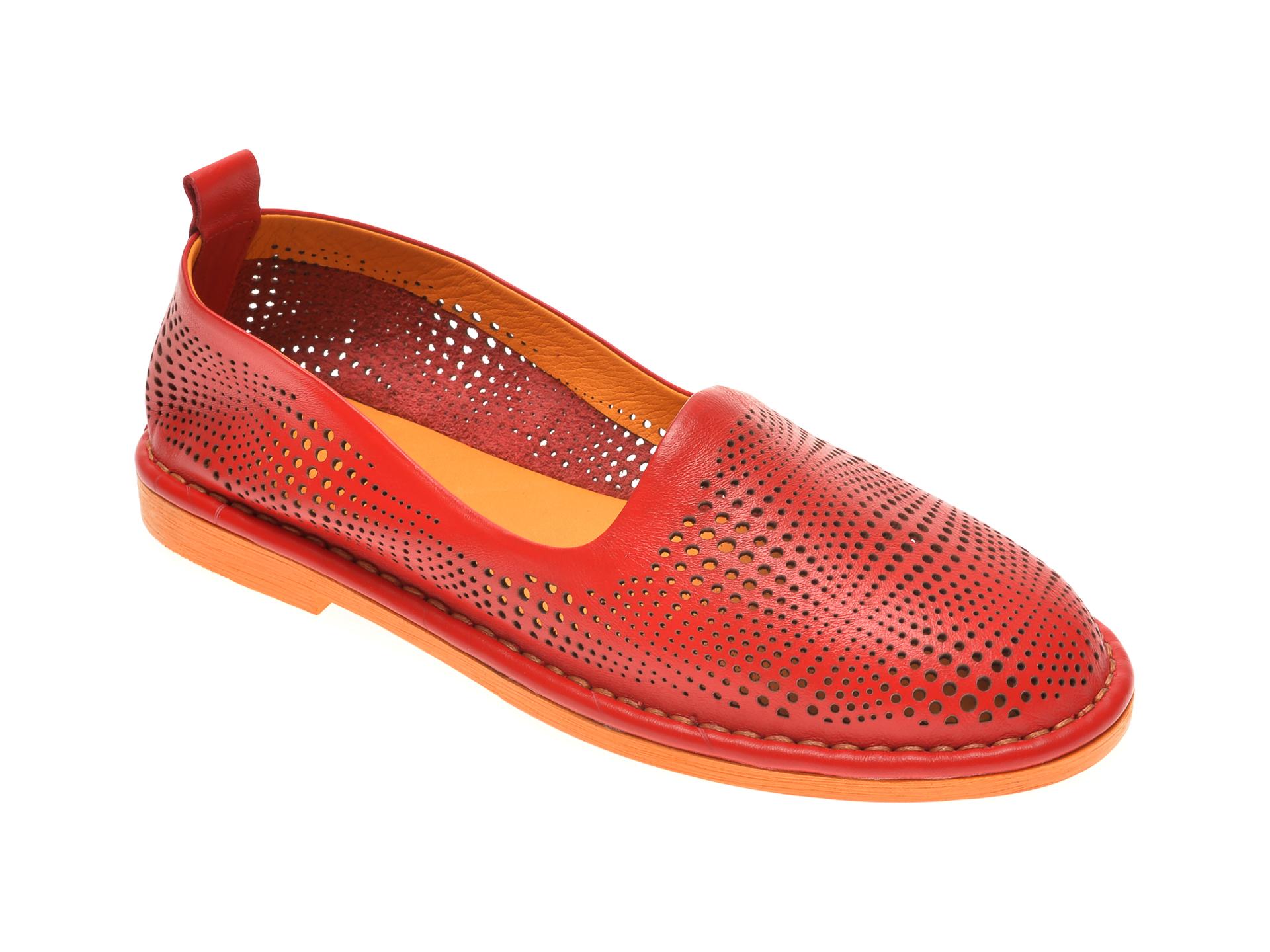 Pantofi LE BERDE rosii, 76600M5, din piele naturala