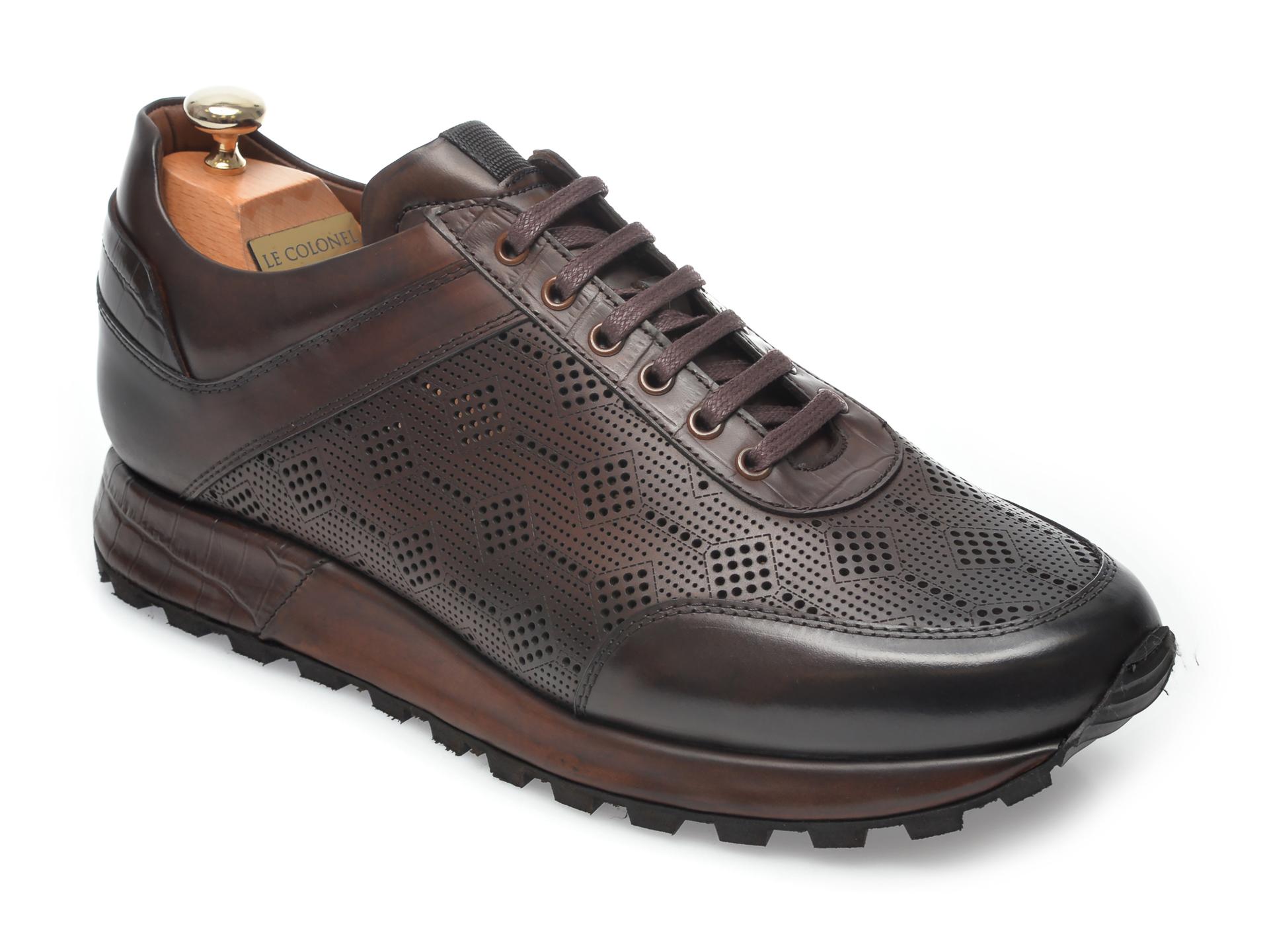 Pantofi LE COLONEL maro, 49438, din piele naturala New