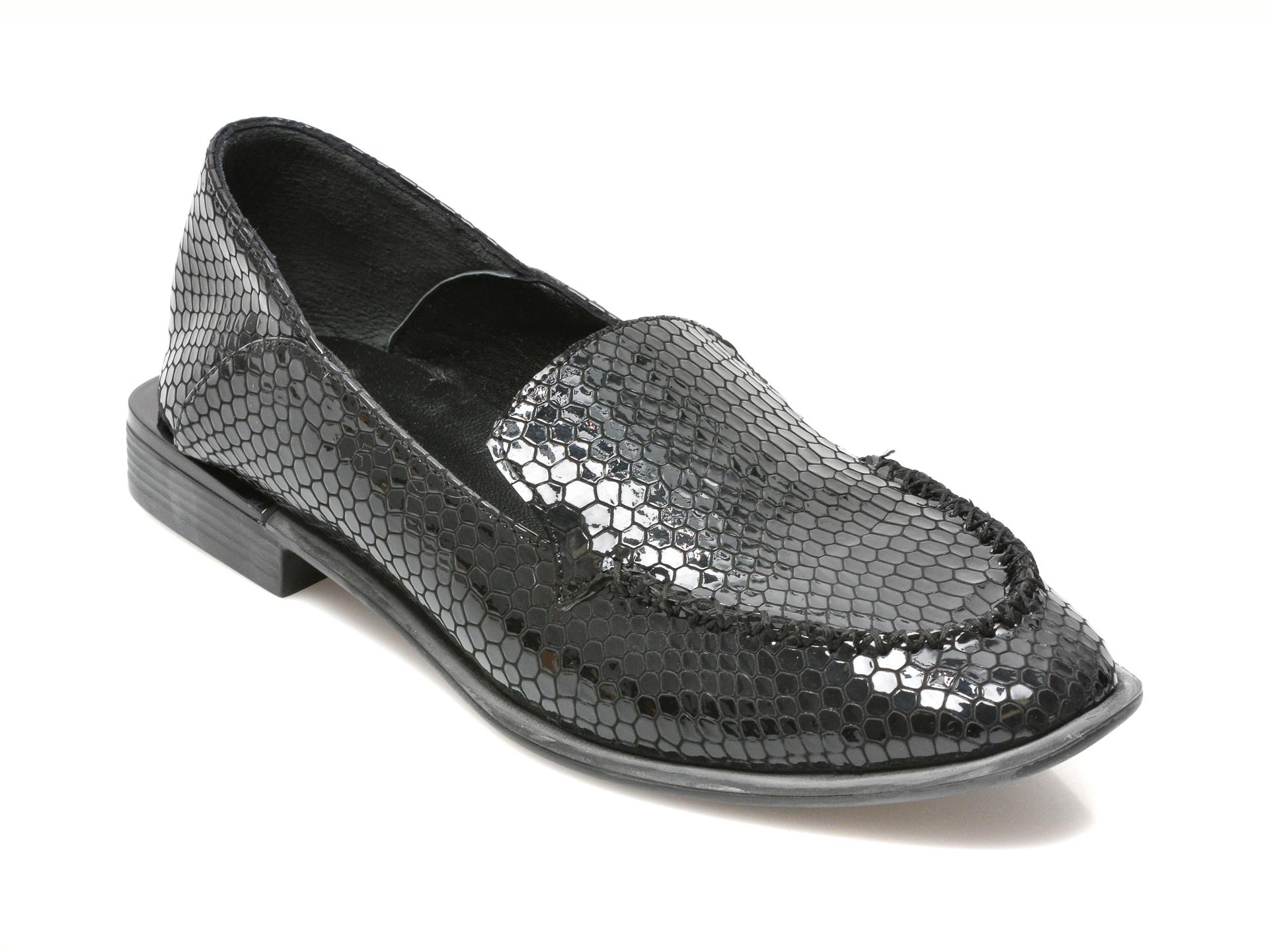 Pantofi Lolilella Bleumarin, 1400, Din Piele Croco