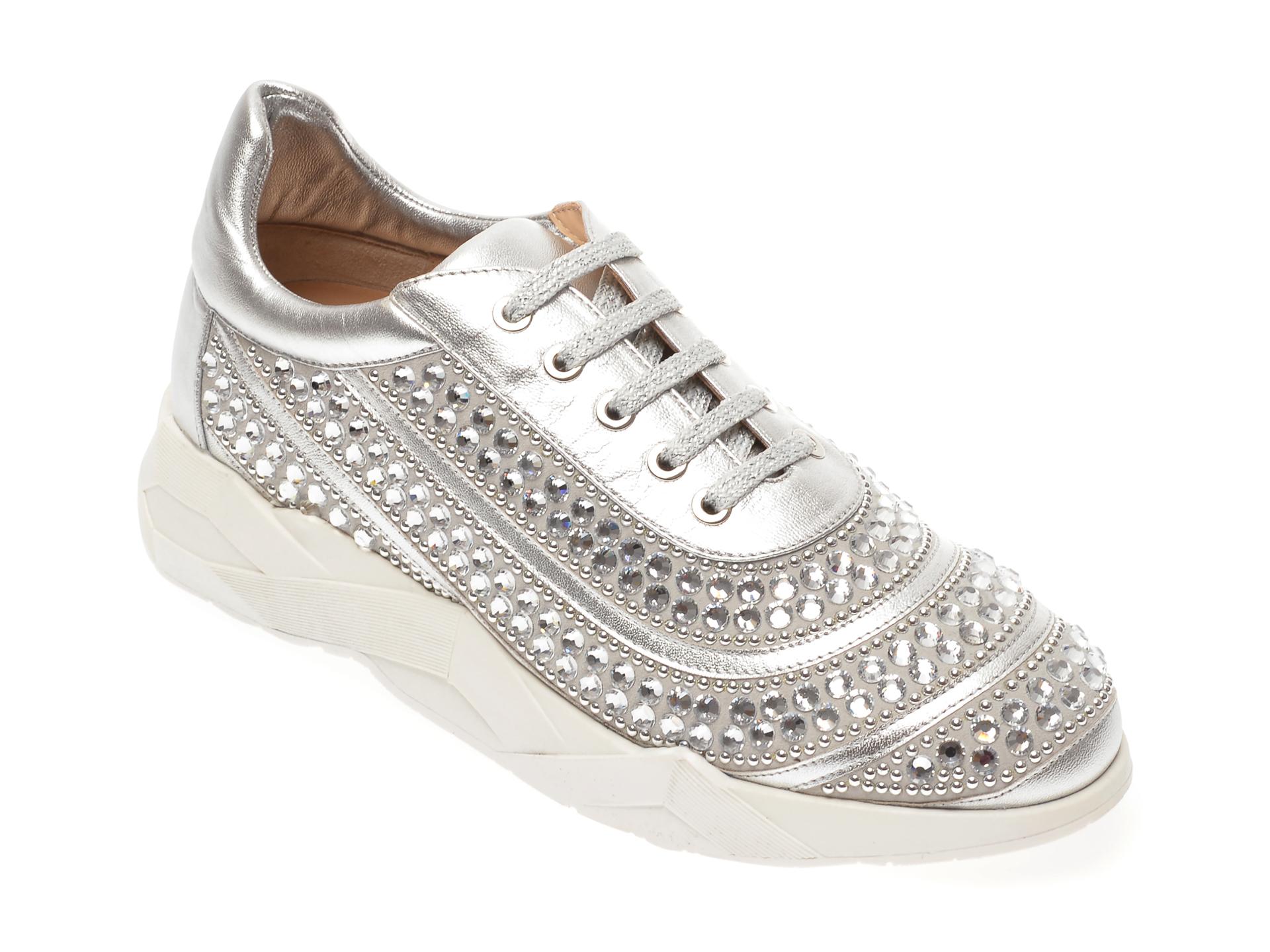 Pantofi LORIBLU argintii, 16433, din piele naturala
