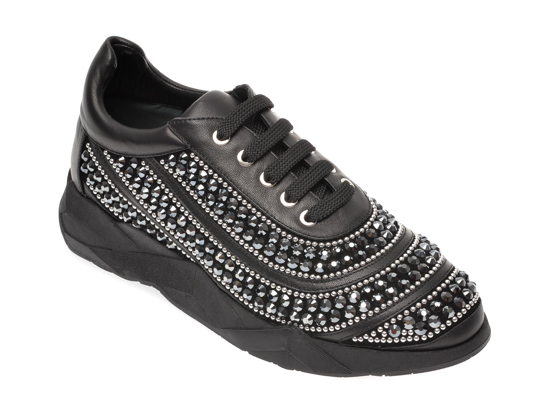 Pantofi LORIBLU negri, 16433, din piele naturala imagine