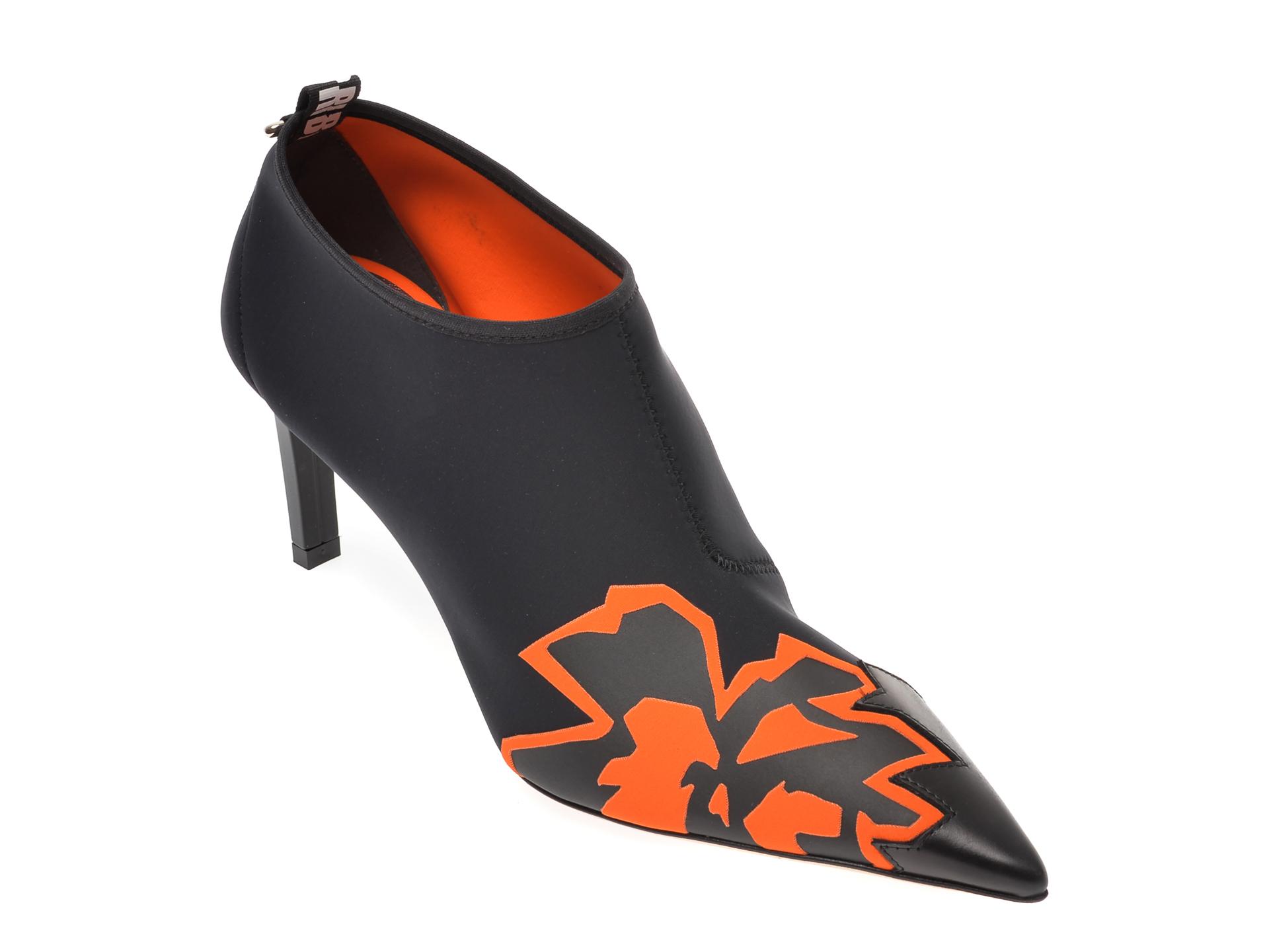 Pantofi LORIBLU negri, 7608, din material textil si piele naturala