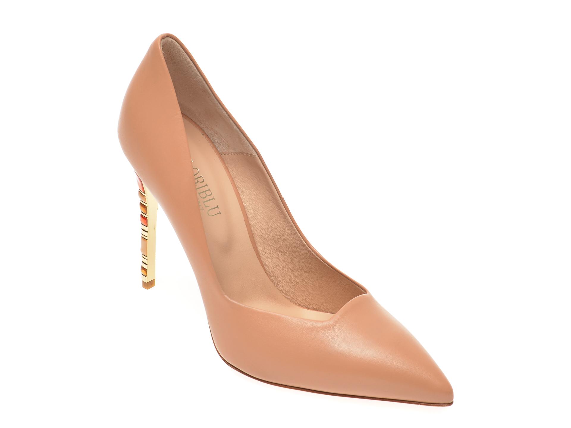 Pantofi LORIBLU nude, 1201, din piele naturala