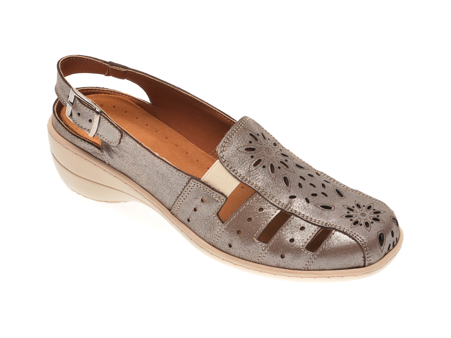 Pantofi Lumel, Argintiu, 20212, Din Piele Naturala