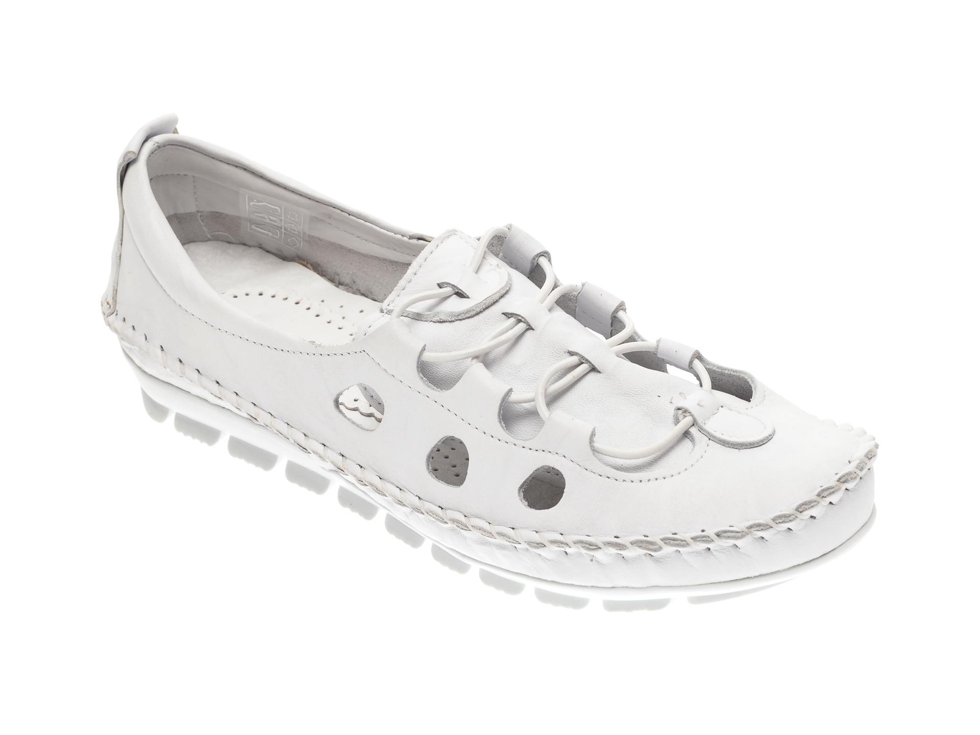 Pantofi MANLISA albi, 115, din piele naturala