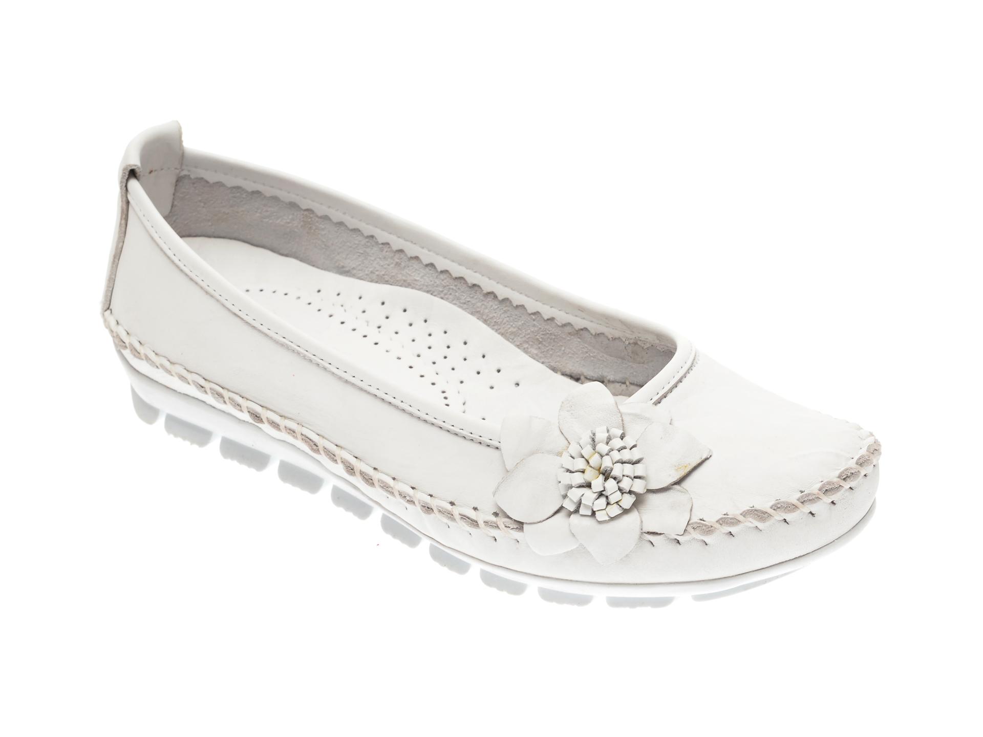 Pantofi MANLISA albi, 127, din piele naturala