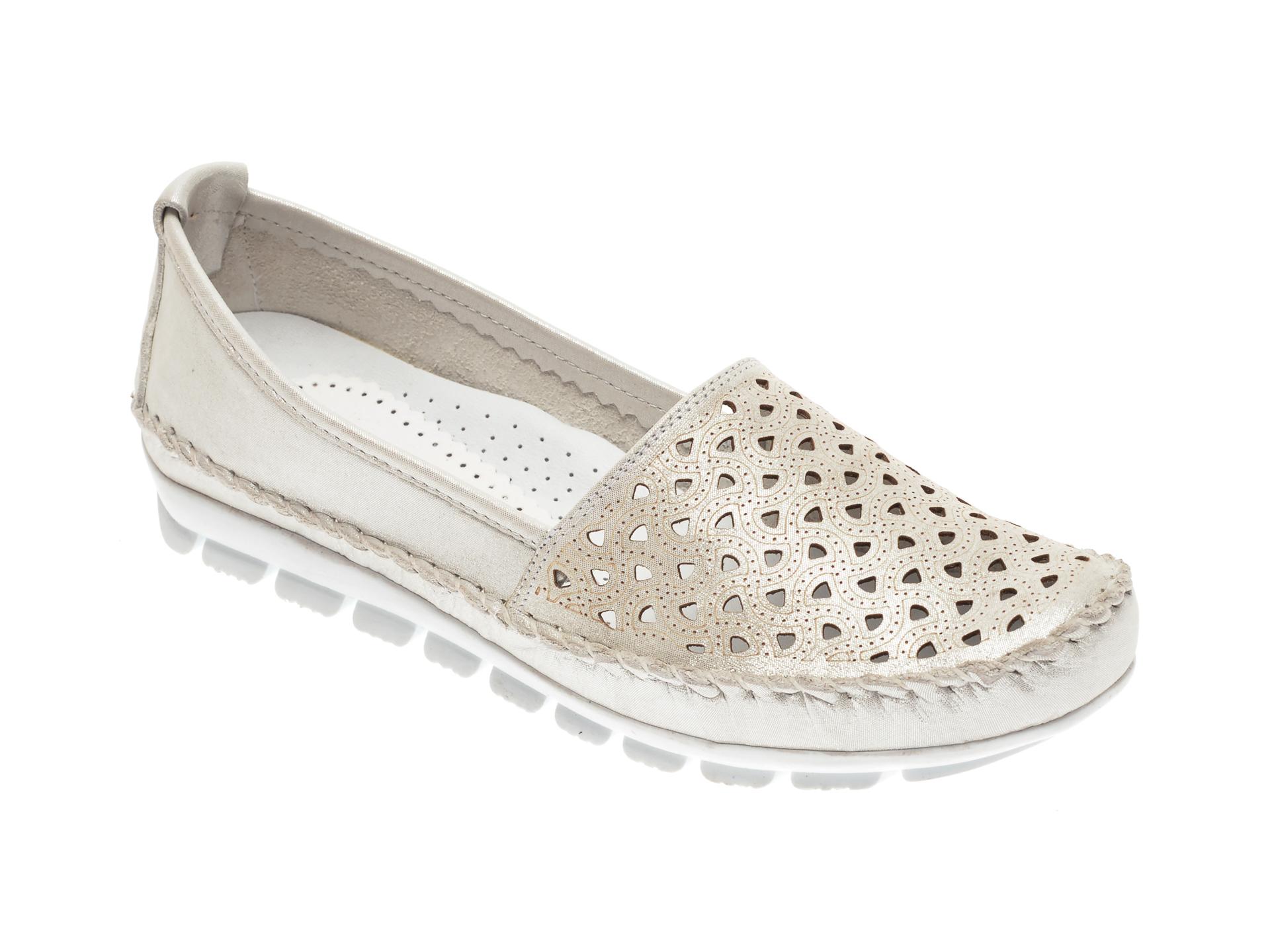 Pantofi MANLISA albi, 128, din piele naturala
