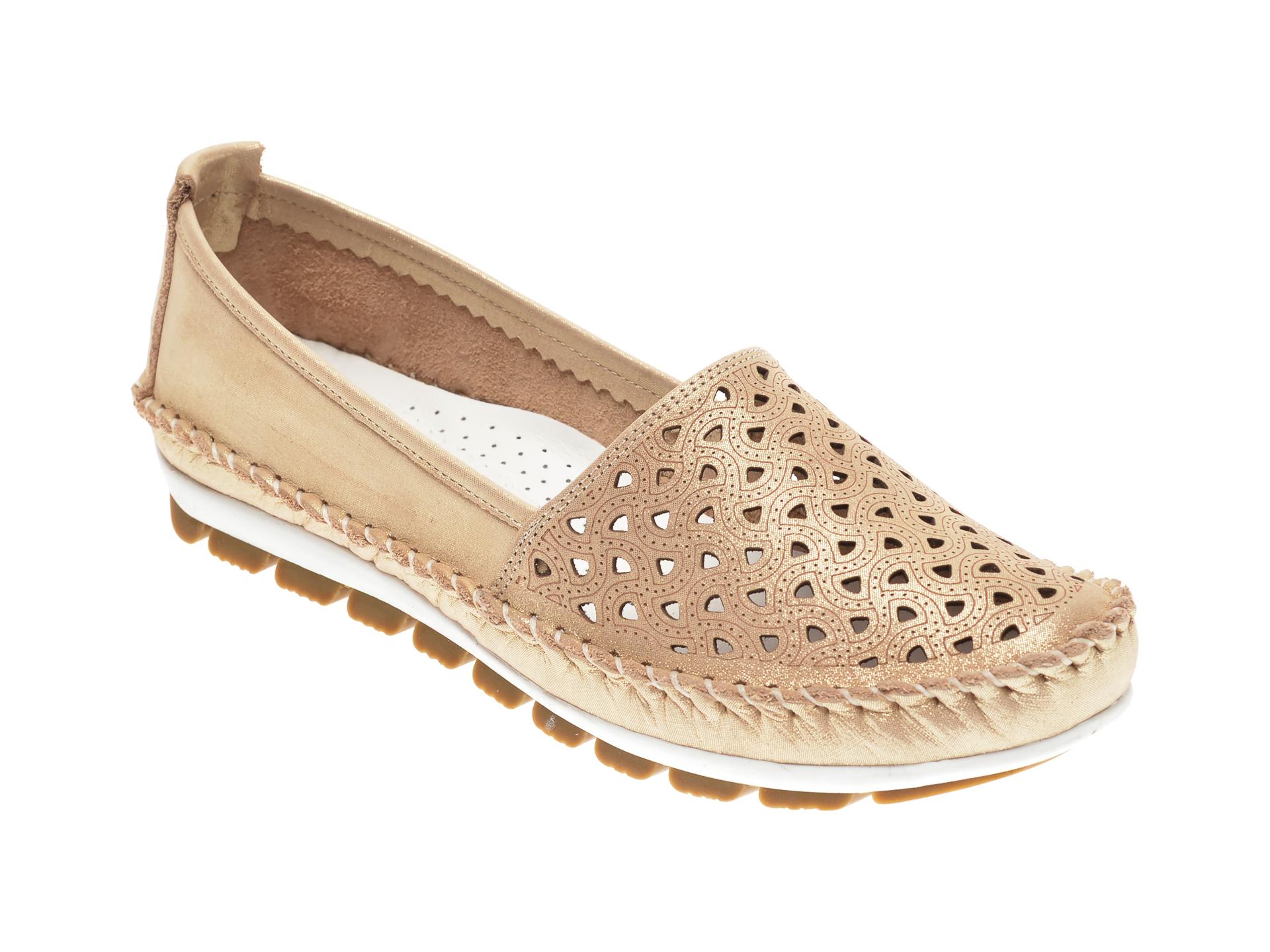 Pantofi MANLISA aurii, 128, din piele naturala